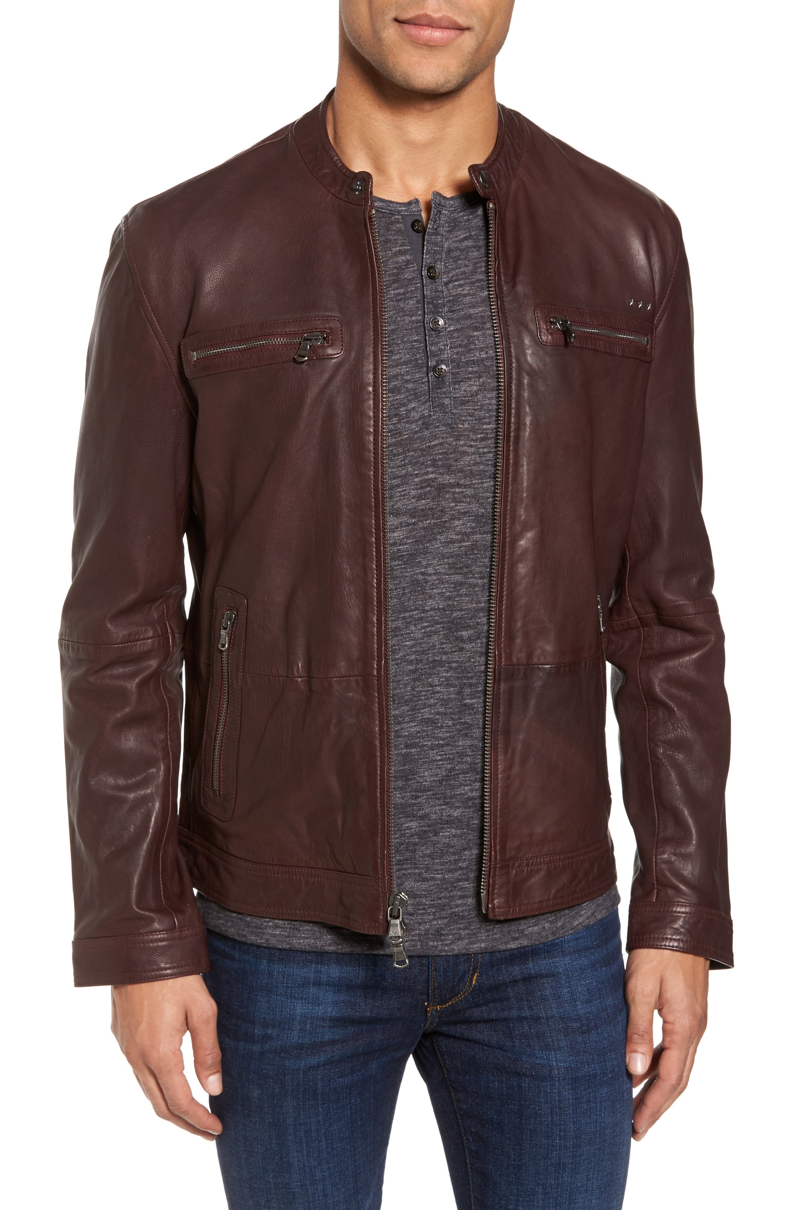 John Varvatos Star USA Leather Racer Jacket