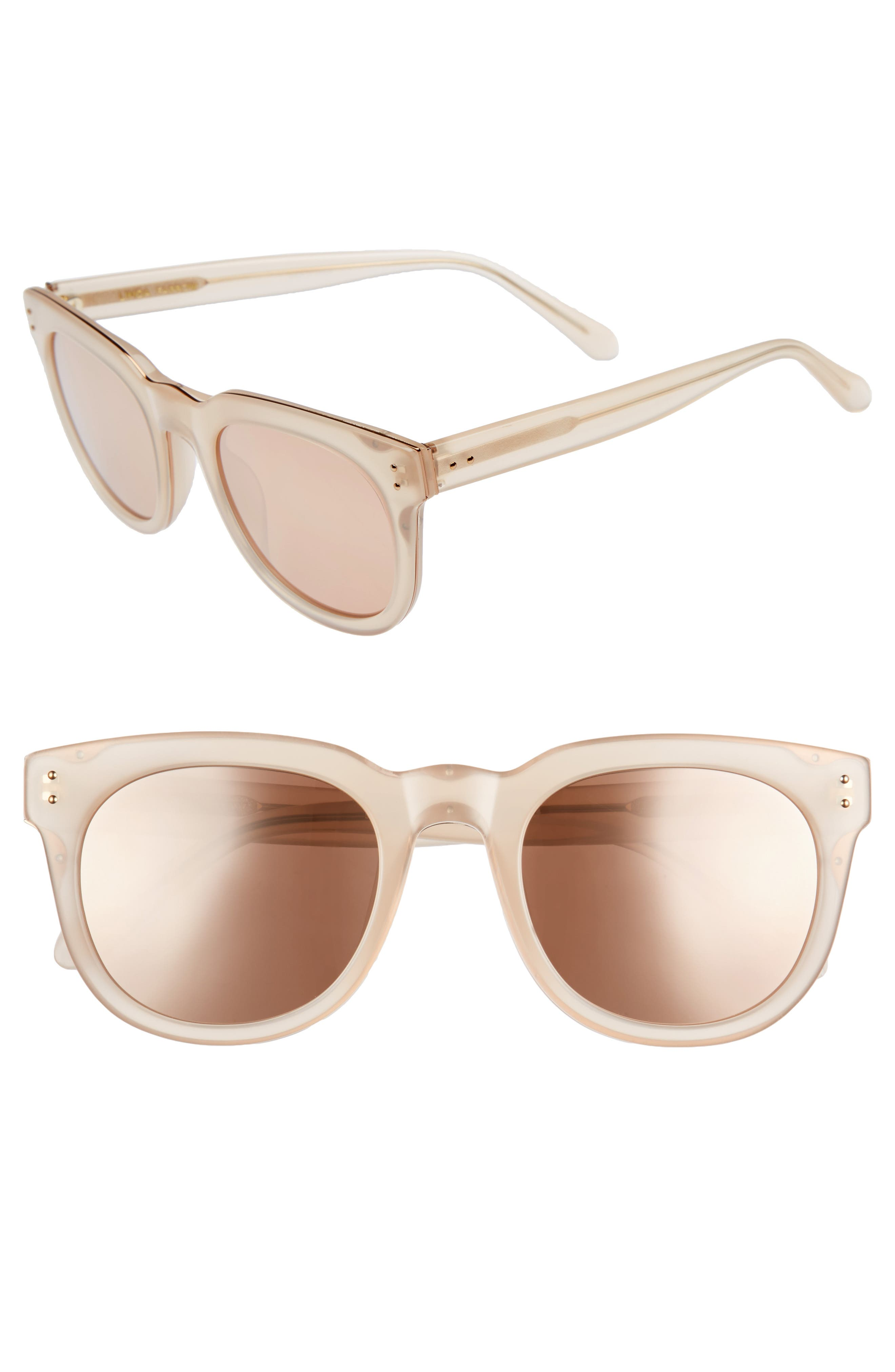 50mm D-Frame Mirrored Sunglasses,                         Main,                         color, Milky Peach/ Rose Gold