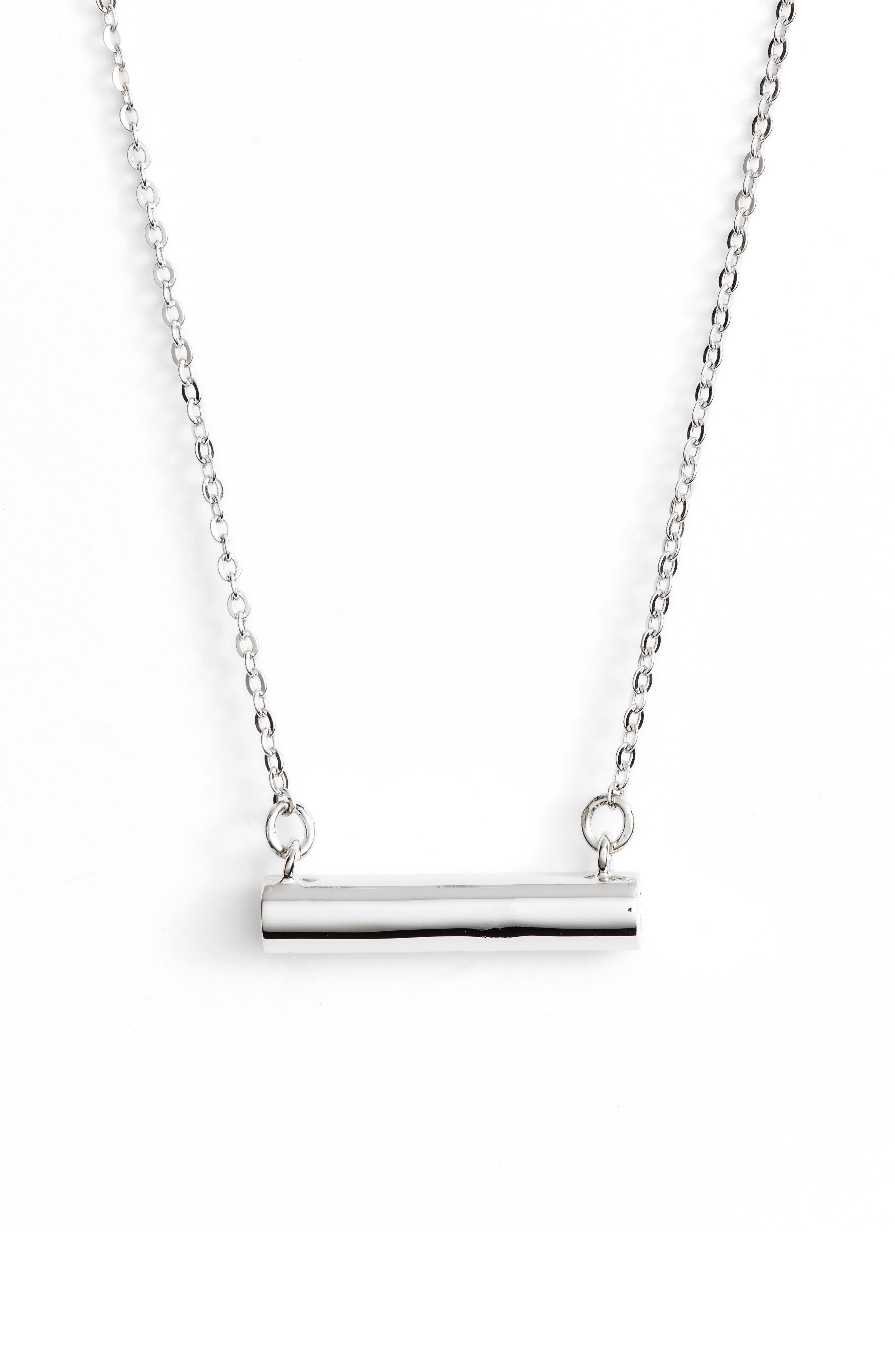 Smiley Face Bar Pendant Necklace,                         Main,                         color, Silver