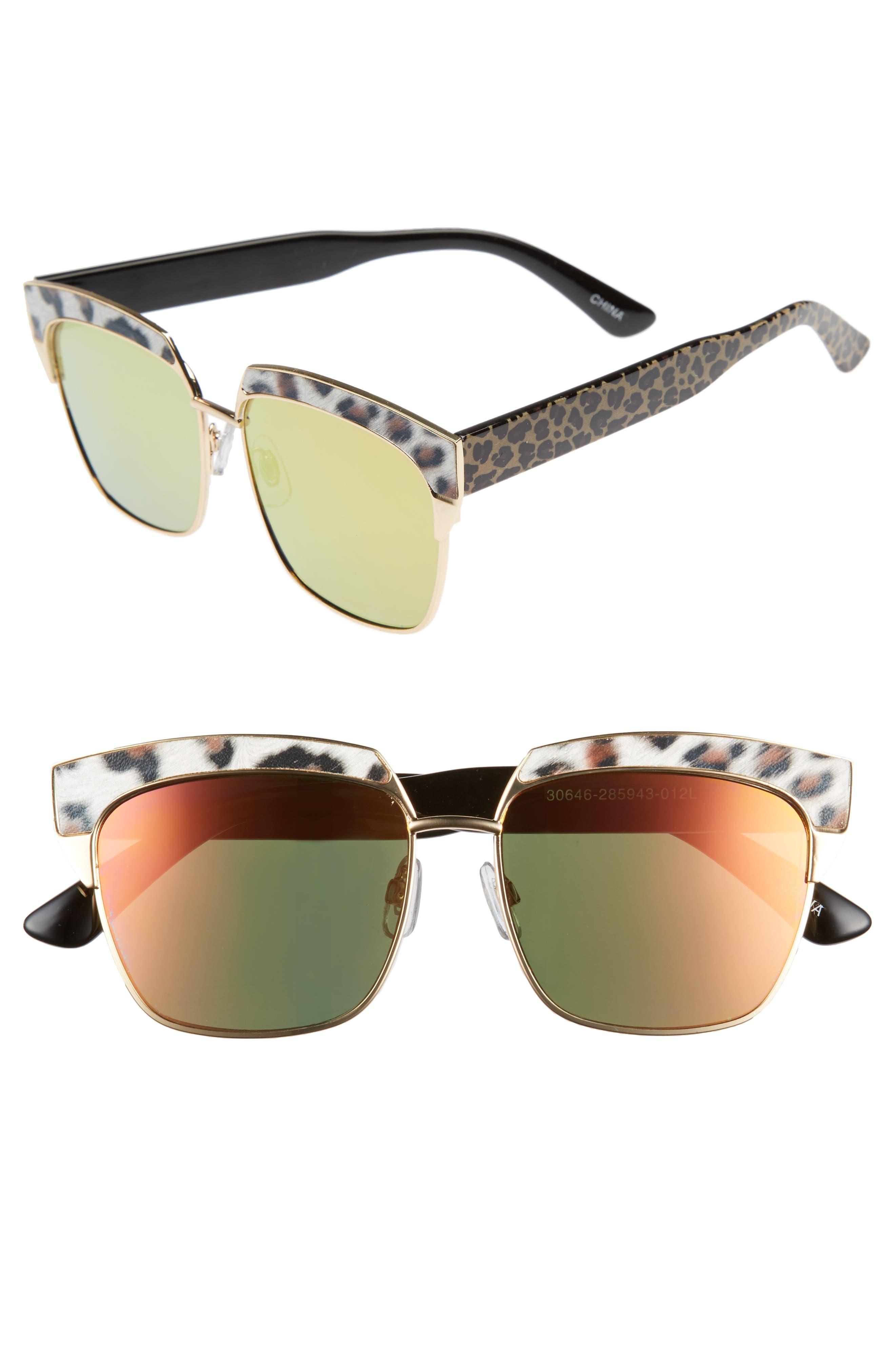 Leopard Print Top Bar Sunglasses,                         Main,                         color, Multi/ Gold
