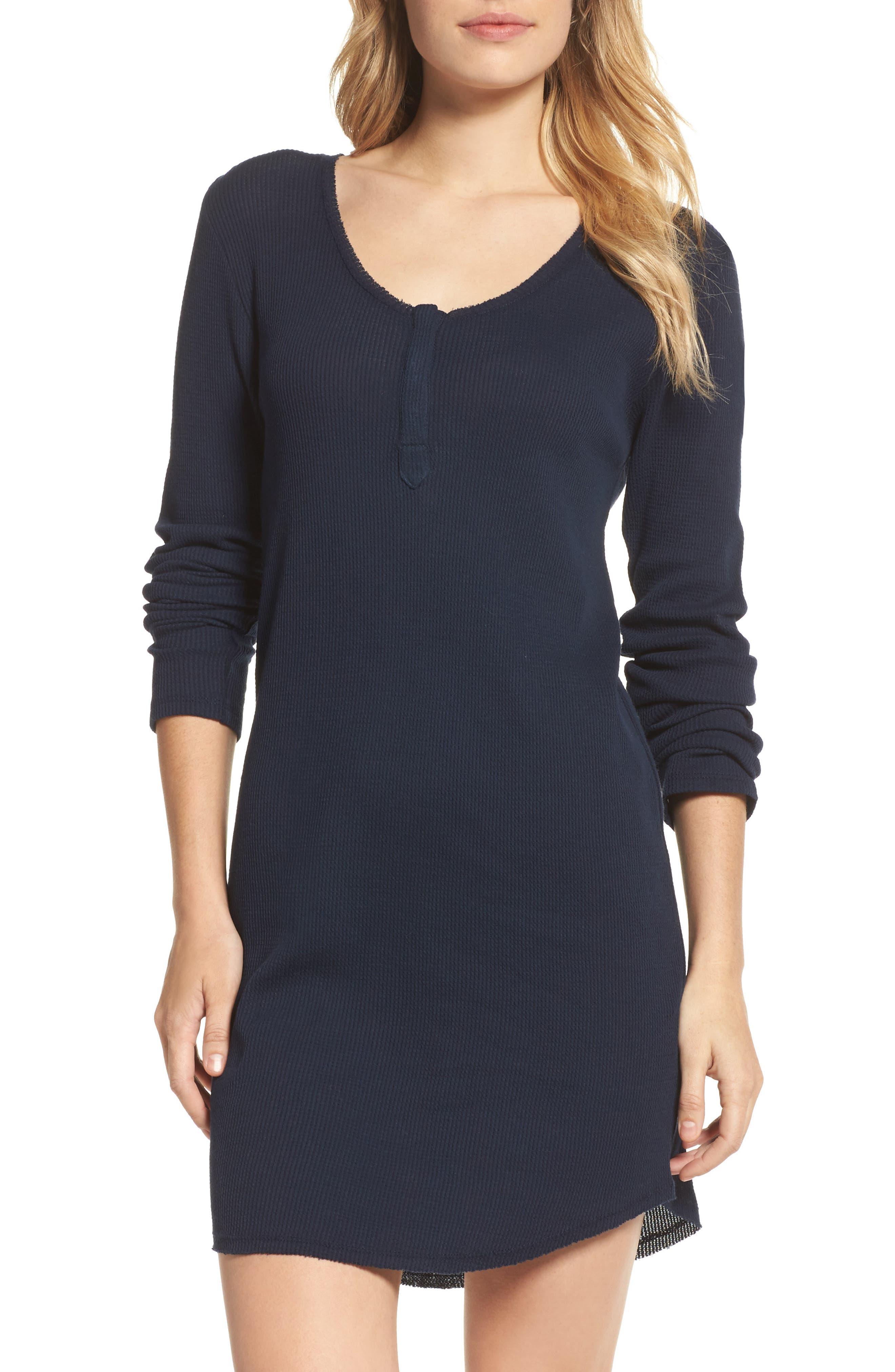 Wynn Henley Sleep Shirt,                         Main,                         color, Bright Navy