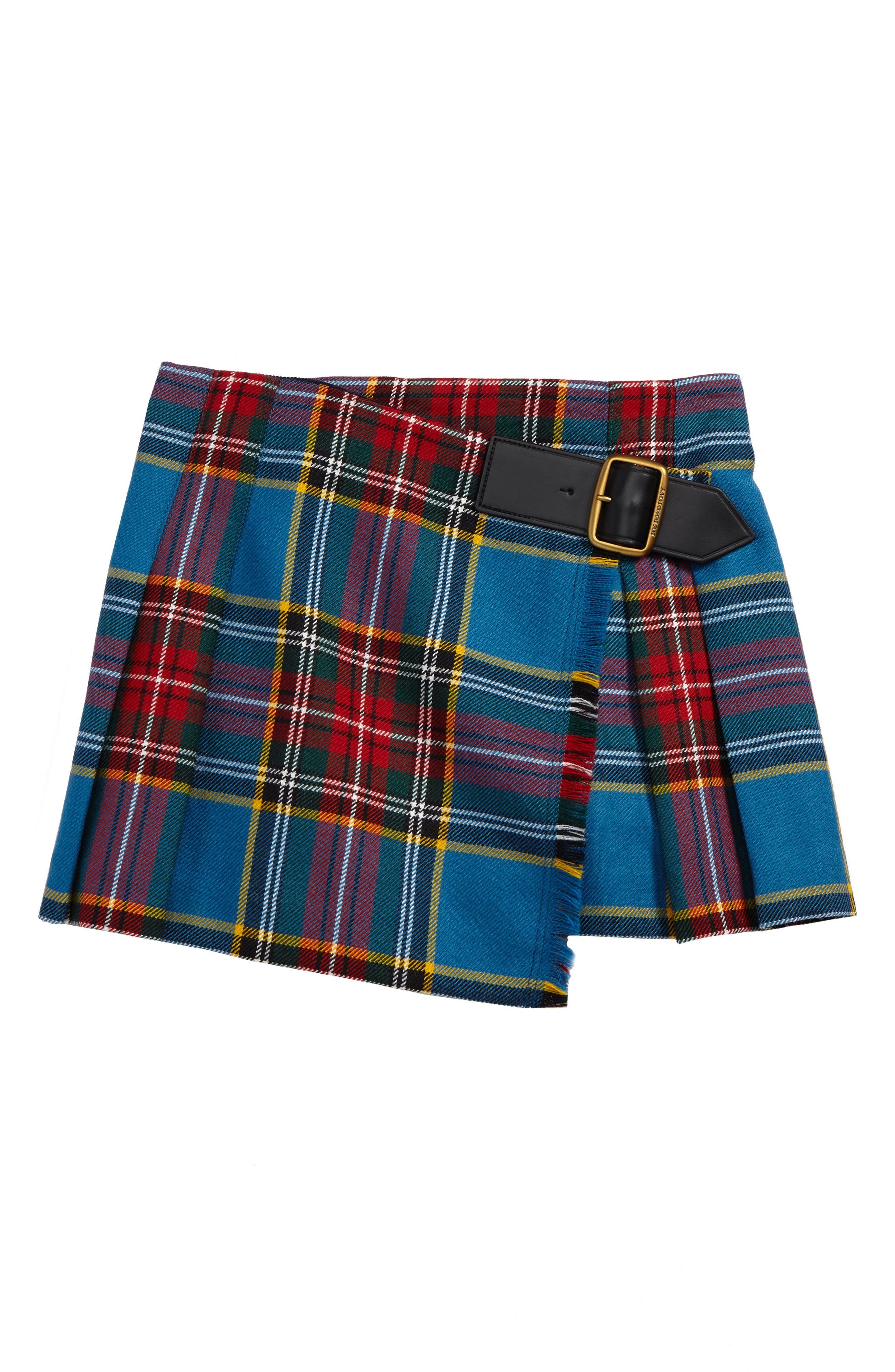 Klorrie Plaid Wool Miniskirt,                             Main thumbnail 1, color,                             Cyan Blue