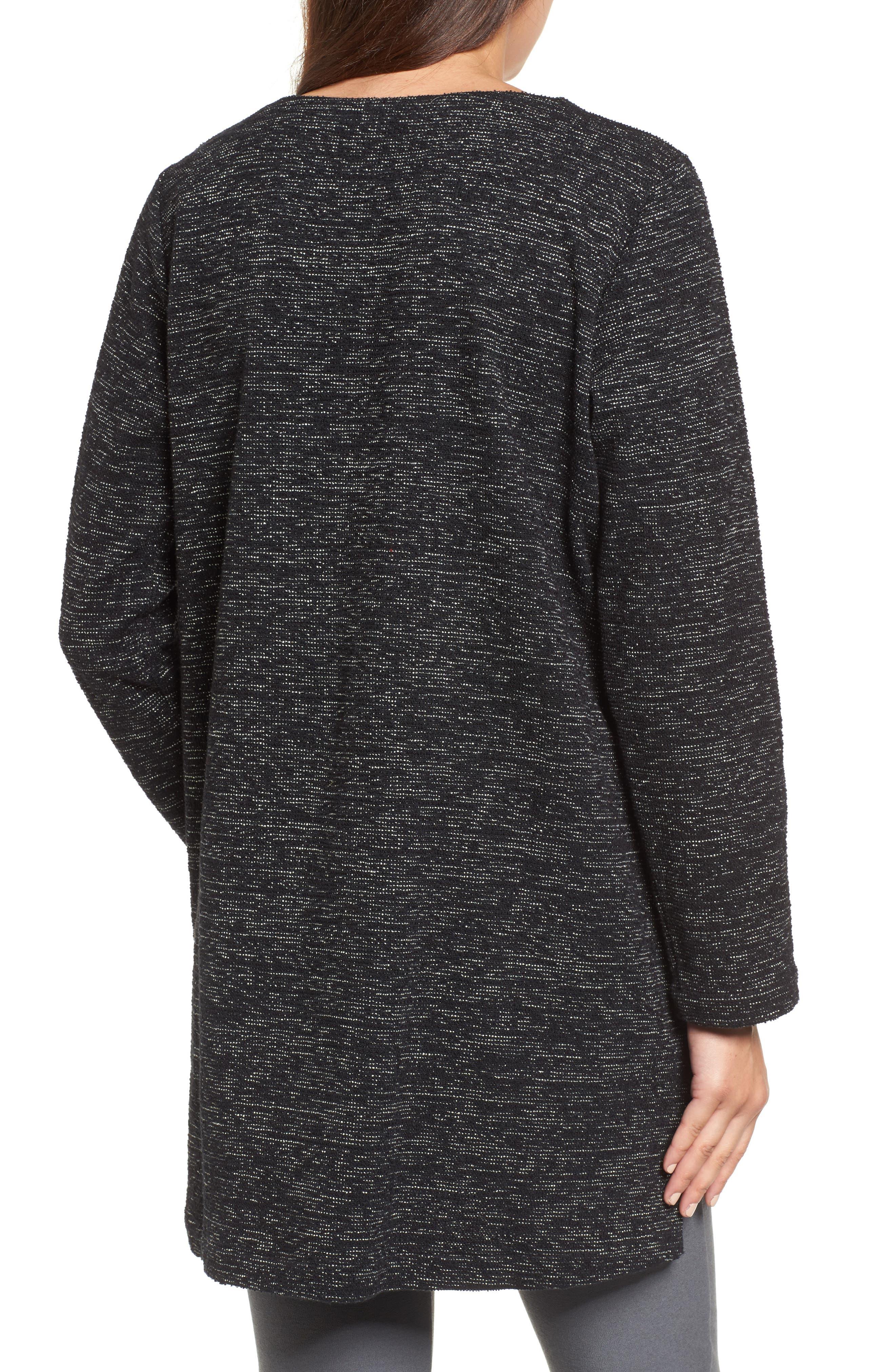 Boxy Organic Cotton Blend Tunic Sweater,                             Alternate thumbnail 2, color,                             Black