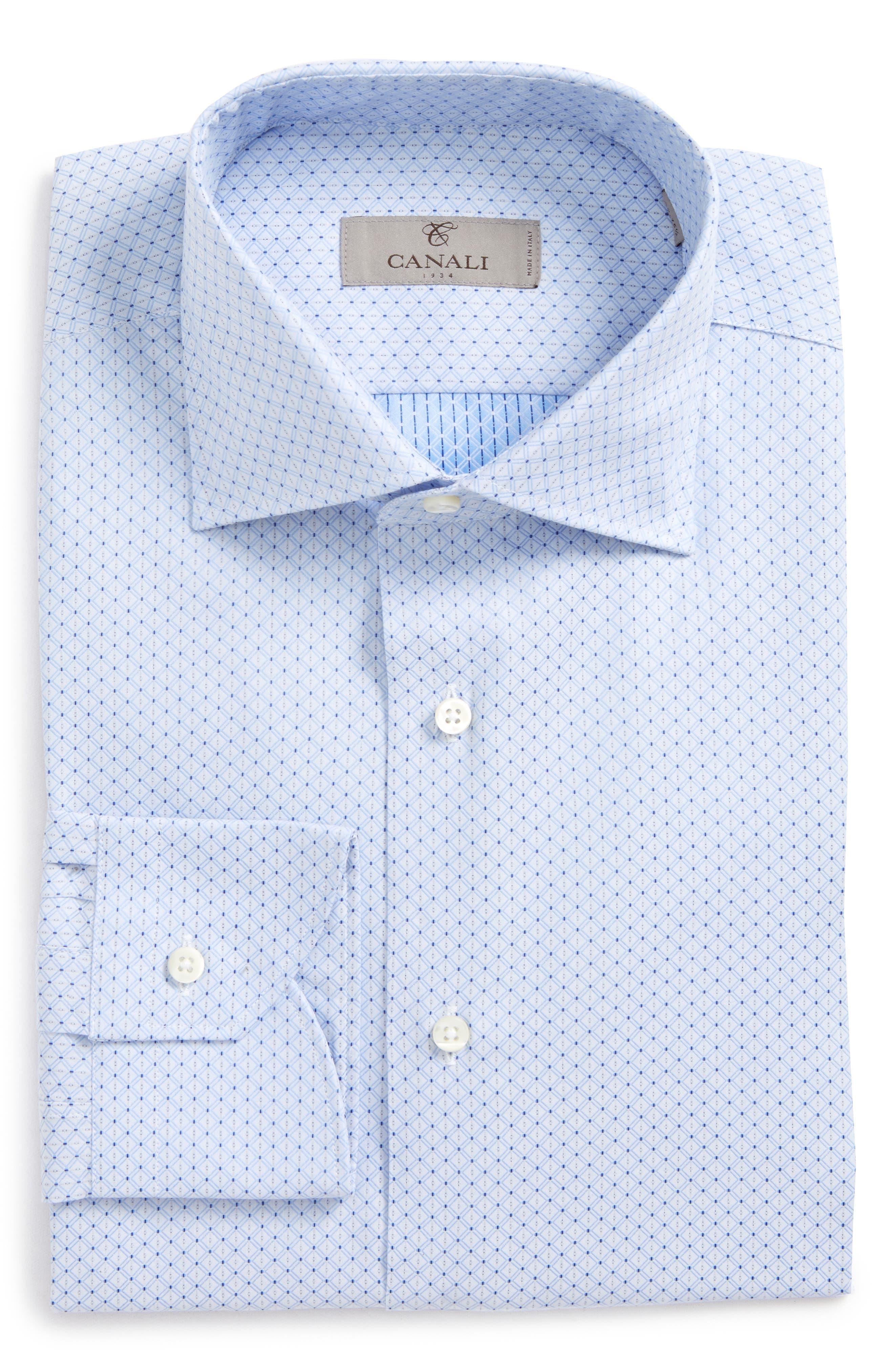 Regular Fit Geometric Dress Shirt,                         Main,                         color, Light Blue