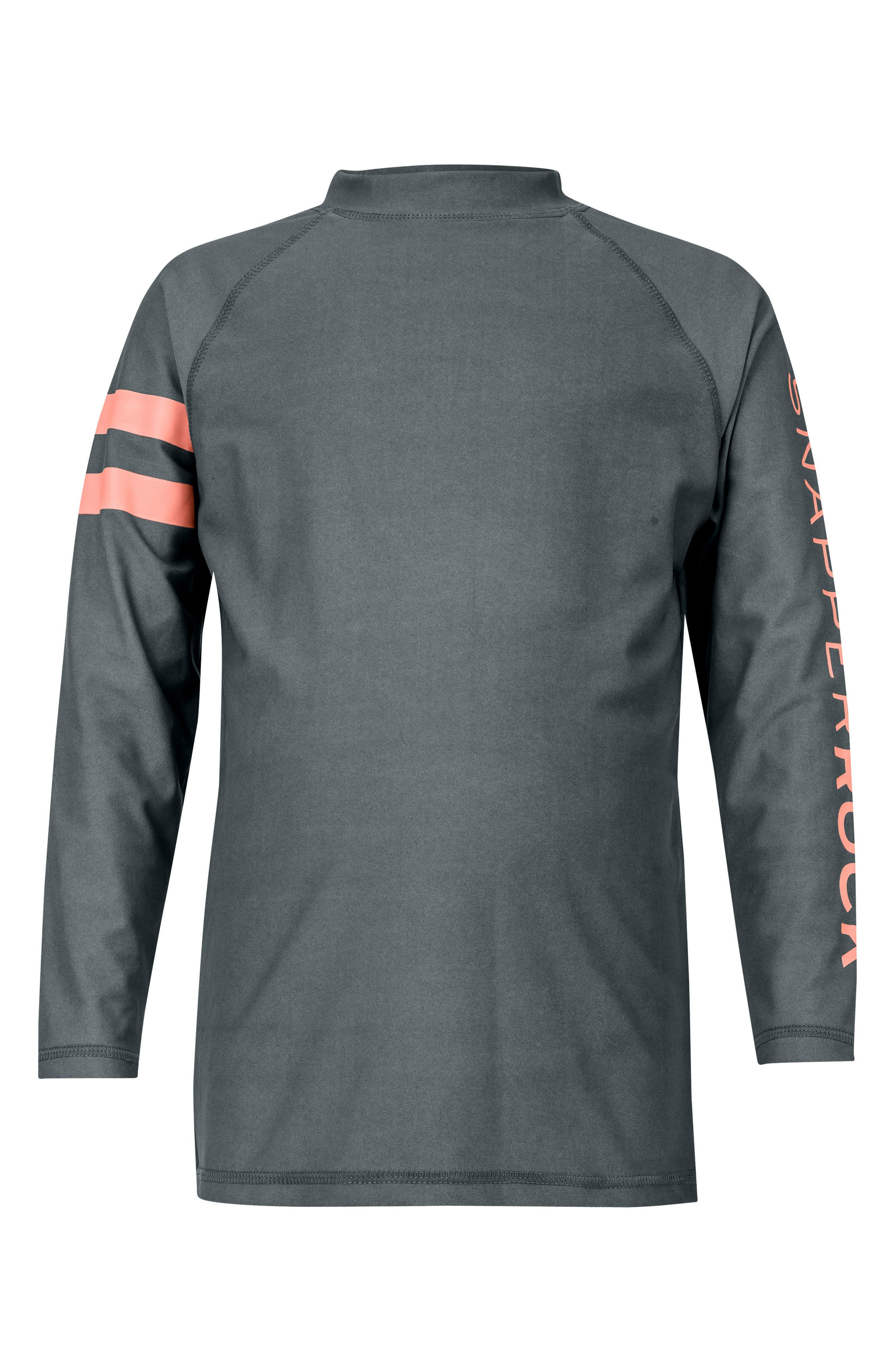 Raglan Long Sleeve Rashguard,                             Main thumbnail 1, color,                             Steel Grey/ Coral Stripe