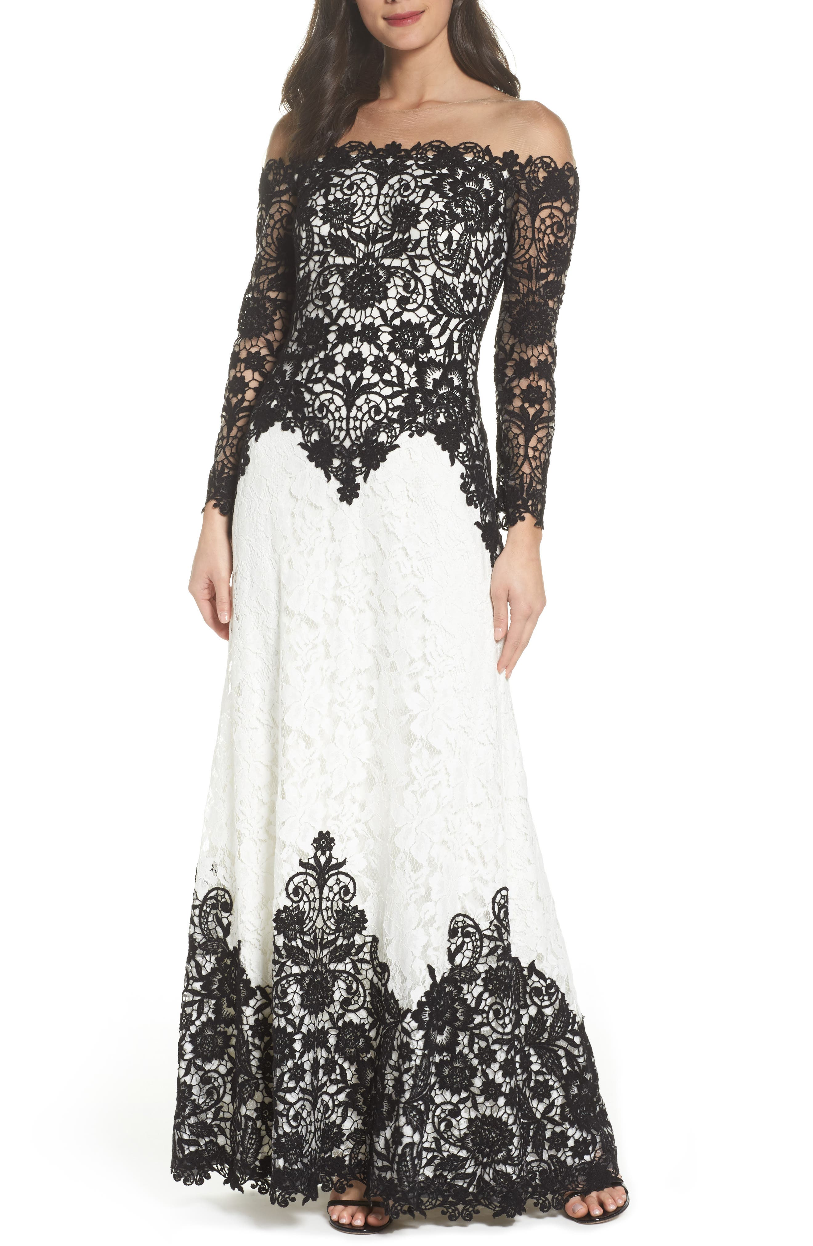 Illusion Neck Two-Tone Lace Gown,                             Main thumbnail 1, color,                             Black/ Ivory