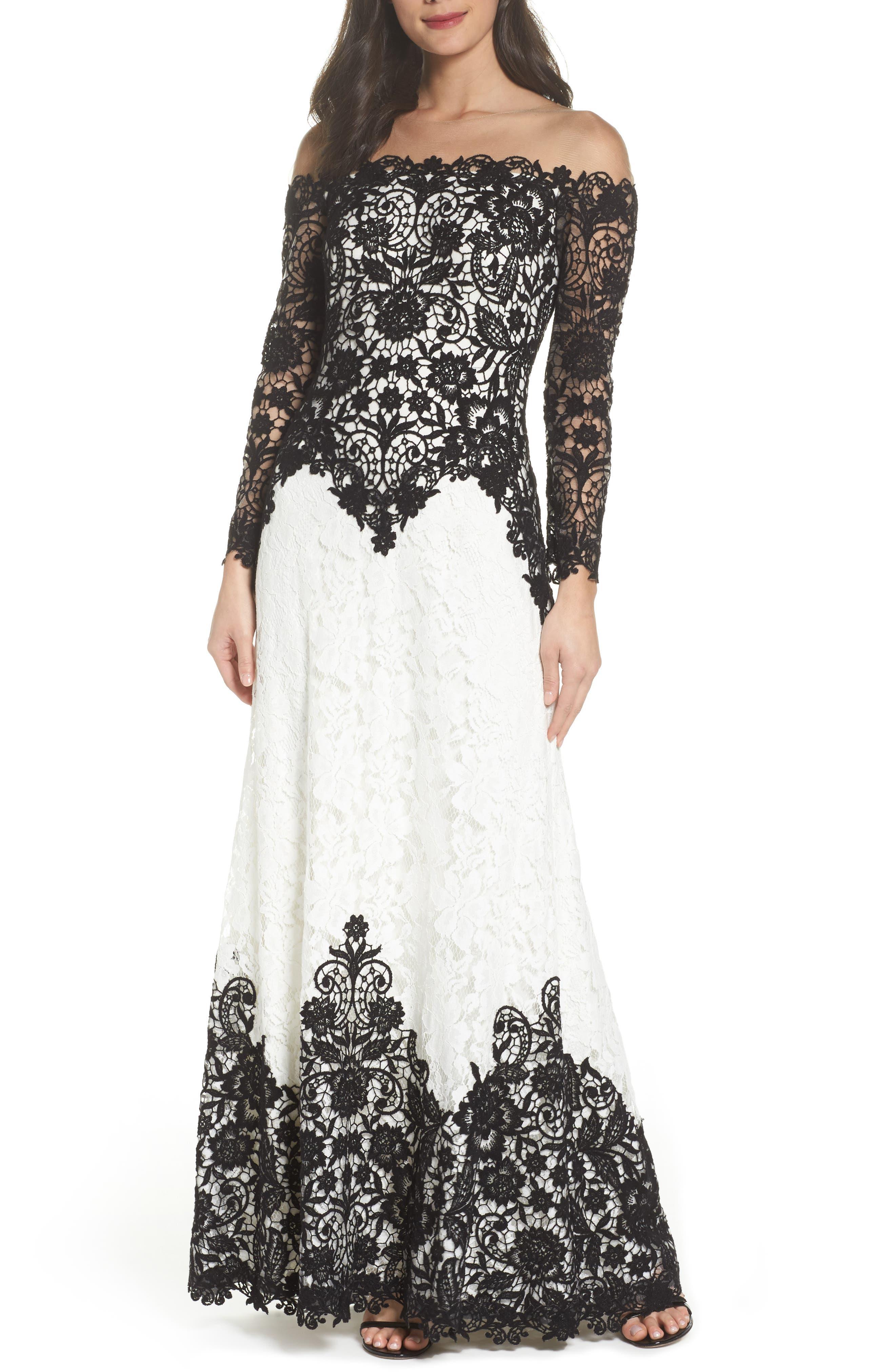 Tadashi Shoji Illusion Neck Two-Tone Lace Gown