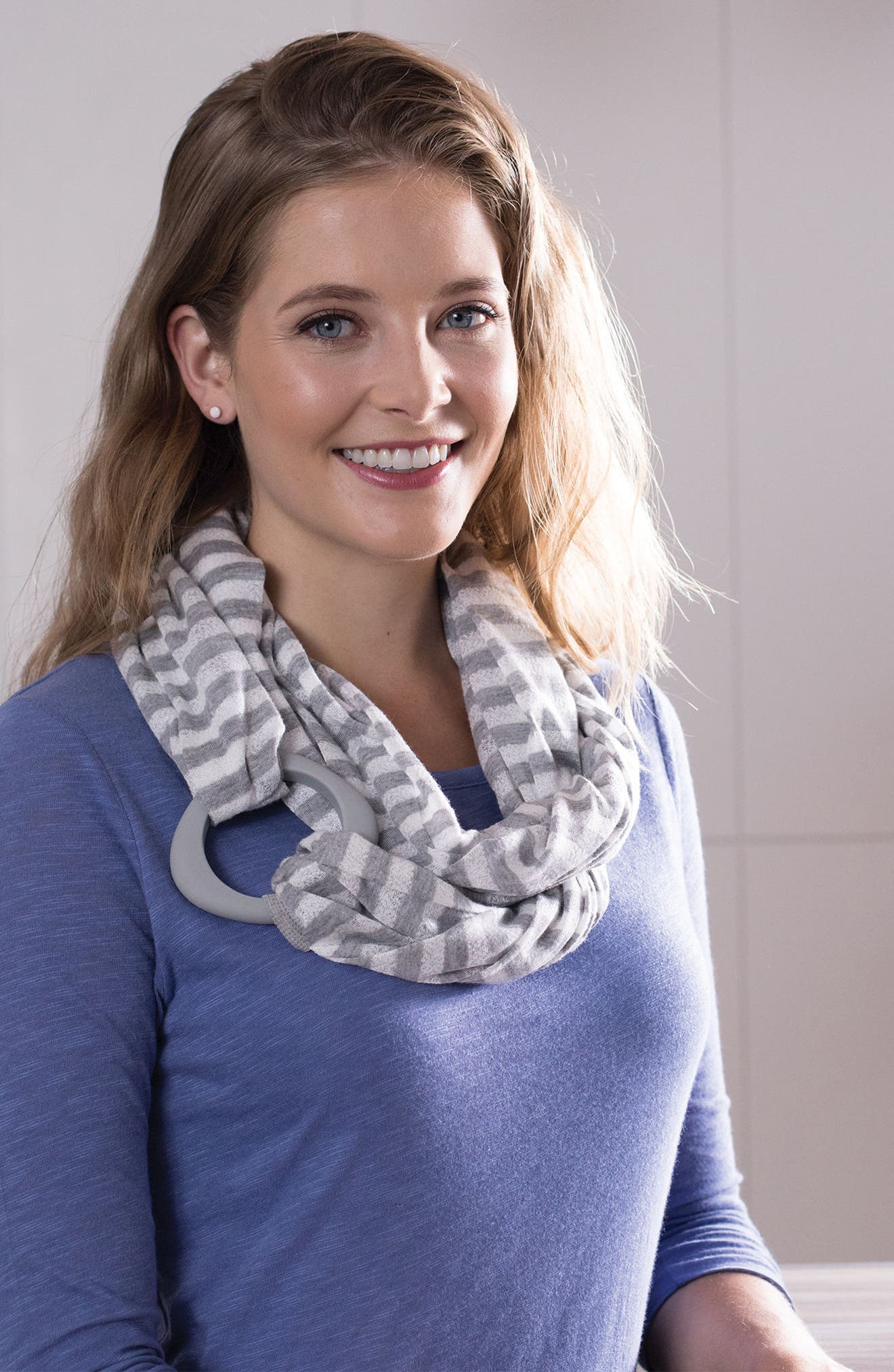 Teething Infinity Scarf,                             Alternate thumbnail 3, color,                             Gray And White Stripes