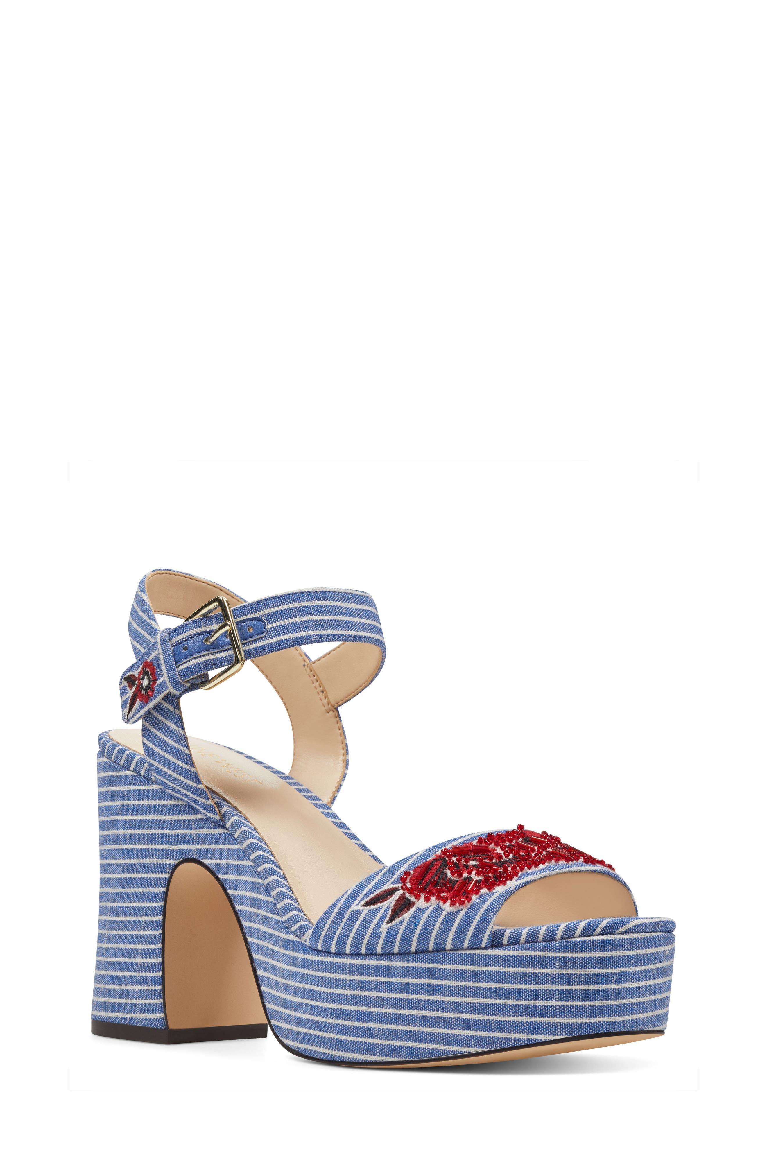 Fontayah Platform Sandal,                             Main thumbnail 1, color,                             Blue/ White Fabric