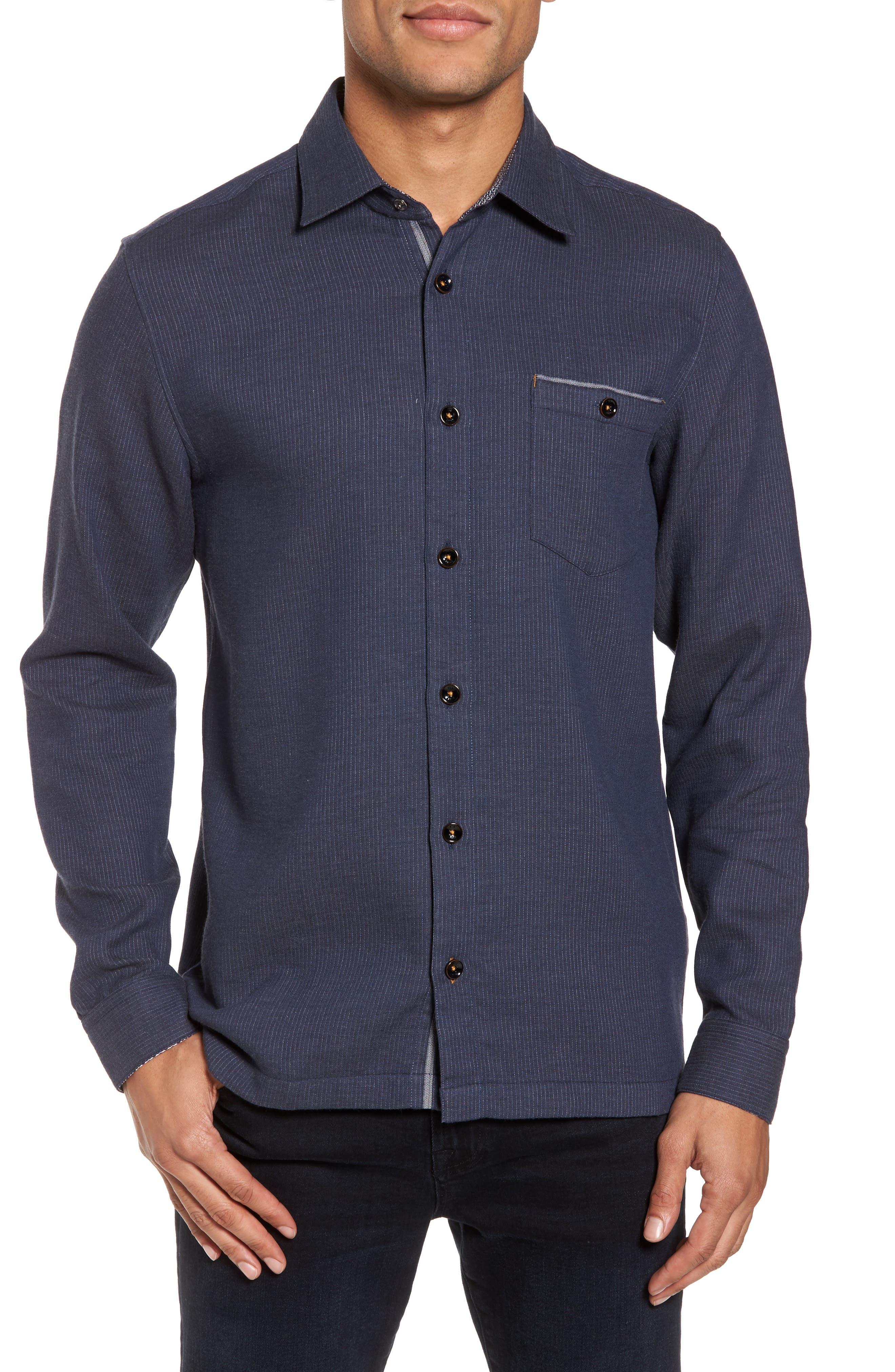 Slim Fit Stripe Workwear Shirt,                         Main,                         color, Navy