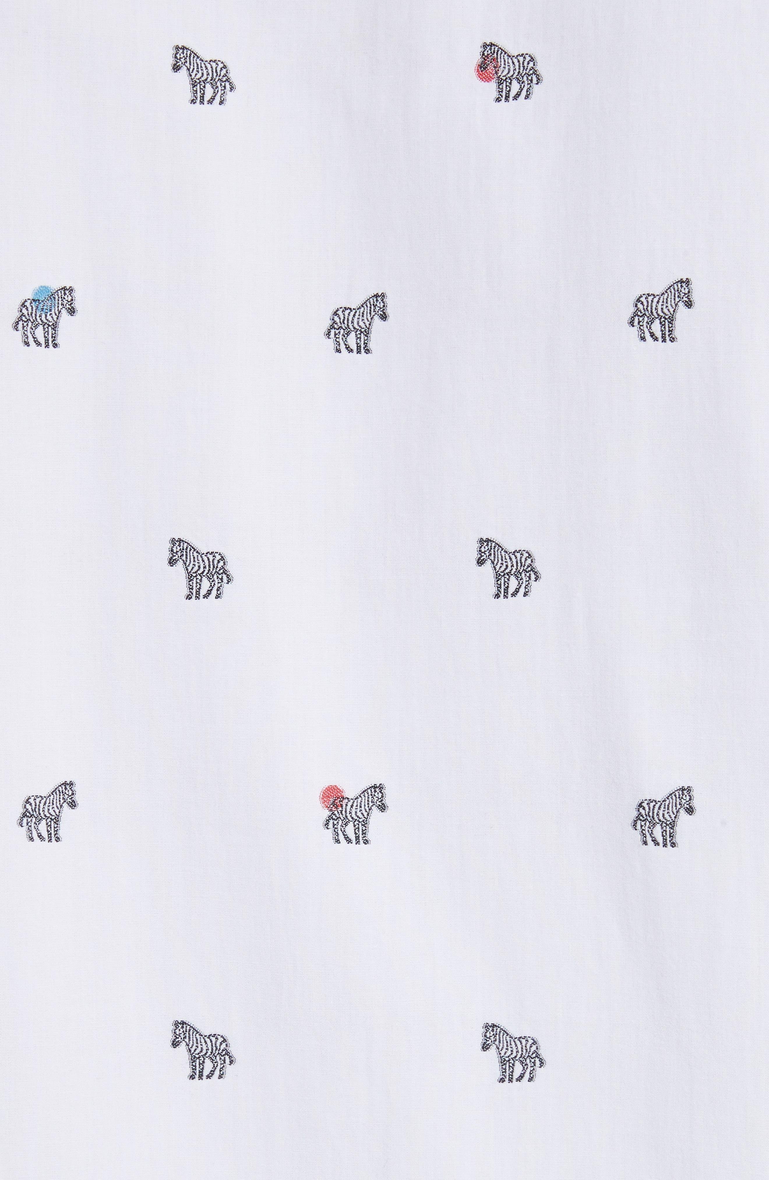 Allover Zebra Woven Shirt,                             Alternate thumbnail 5, color,                             White