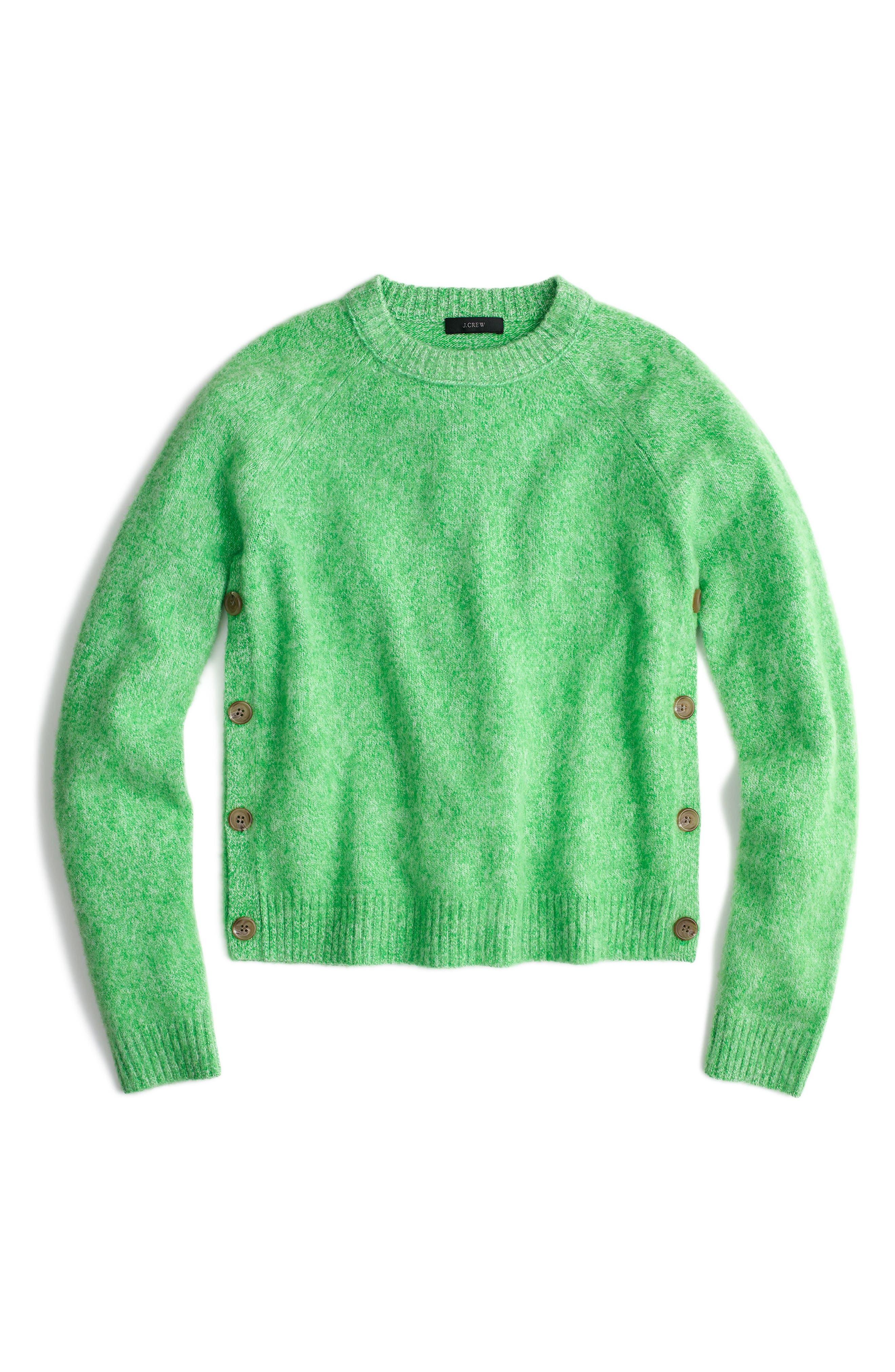 J.Crew Brushed Shrunken Lambswool Crewneck Sweater,                         Main,                         color, Marled Clover