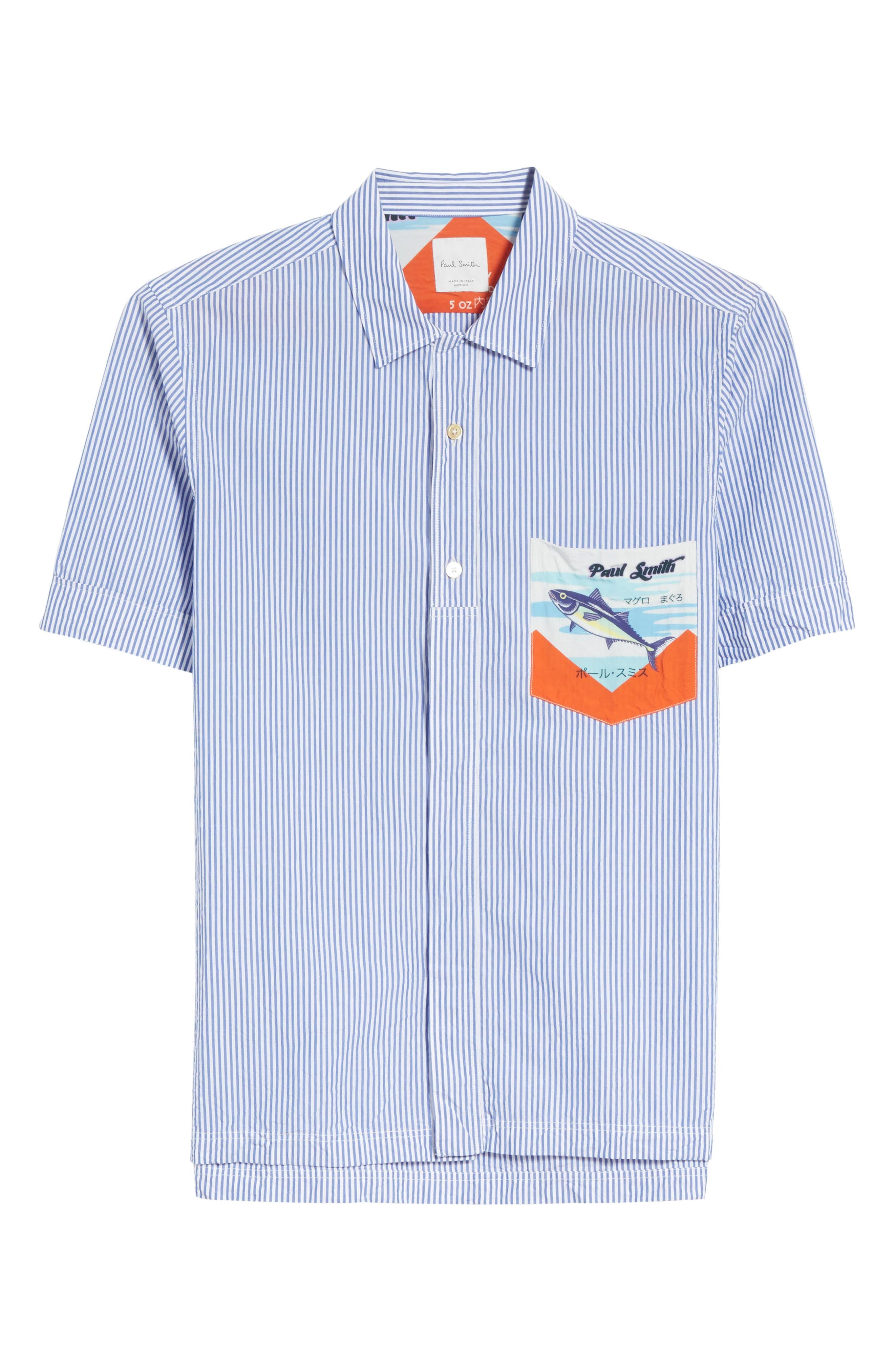 Stripe Seersucker Camp Shirt,                             Alternate thumbnail 6, color,                             41 Blue Multi