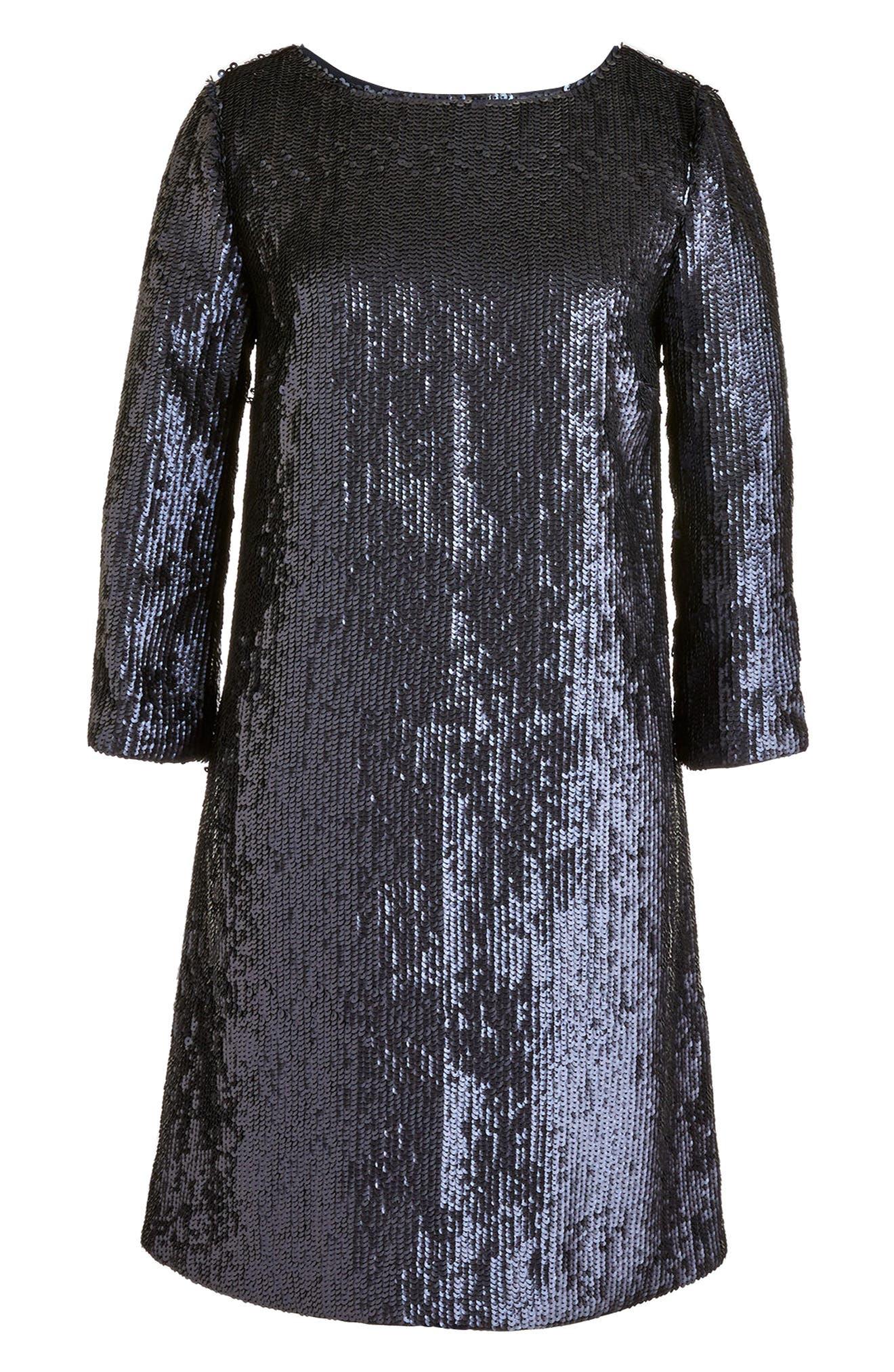 J.Crew V-Back Sequin Dress,                             Alternate thumbnail 4, color,                             Navy