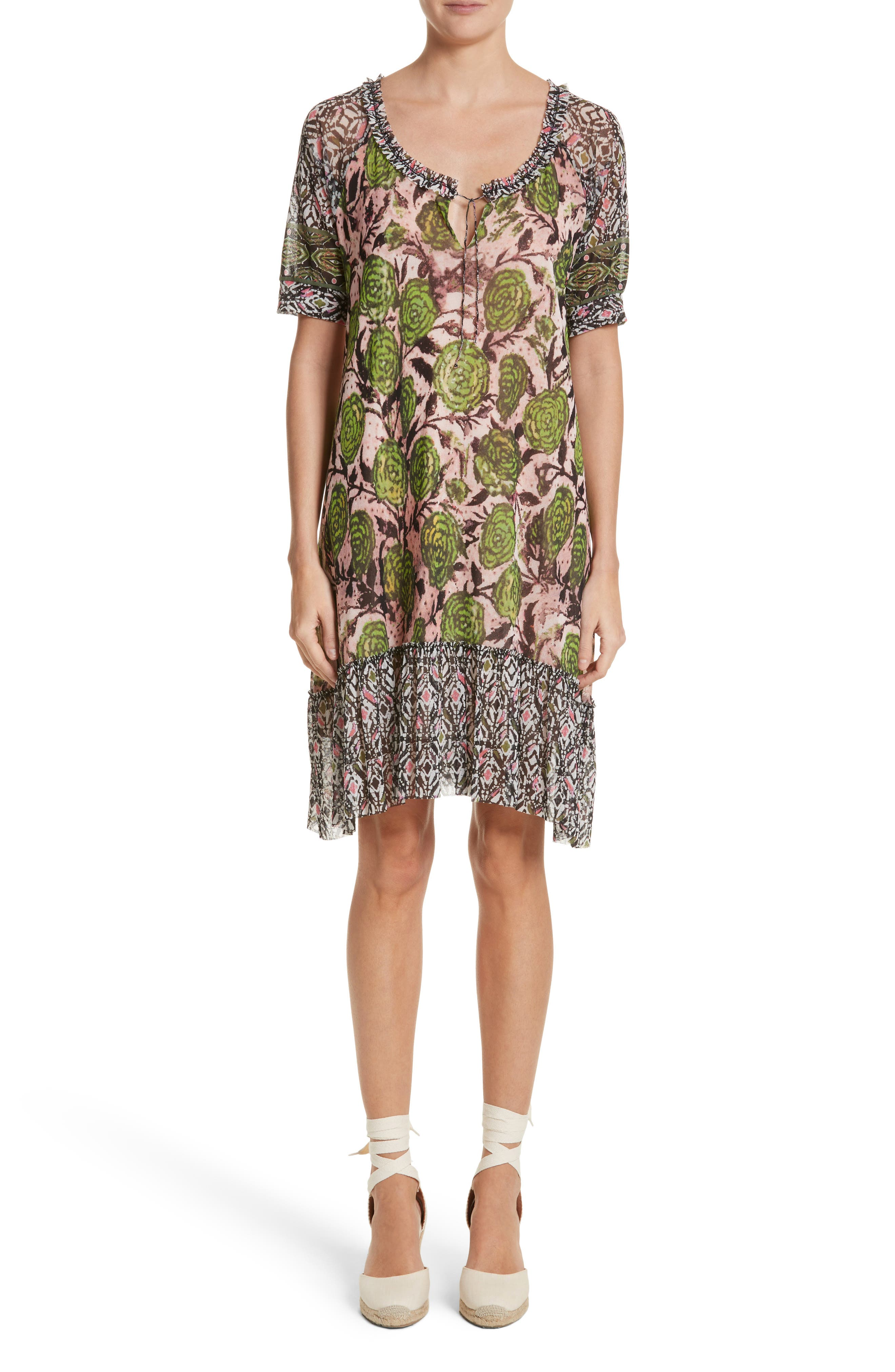 Print Tulle Peasant Dress,                         Main,                         color, Pelato