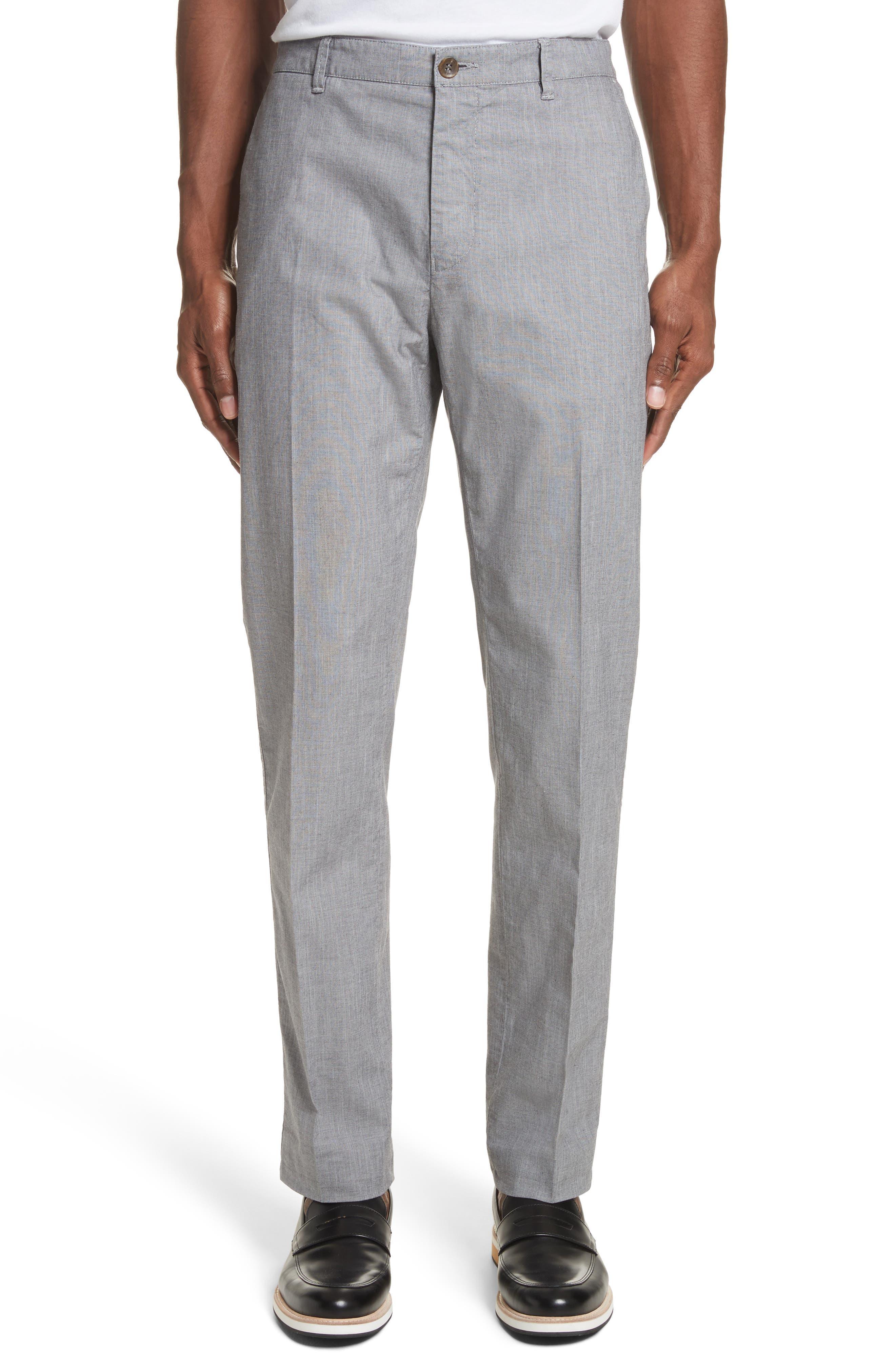 French Pocket Stretch Straight Leg Pants,                             Main thumbnail 1, color,                             Grey