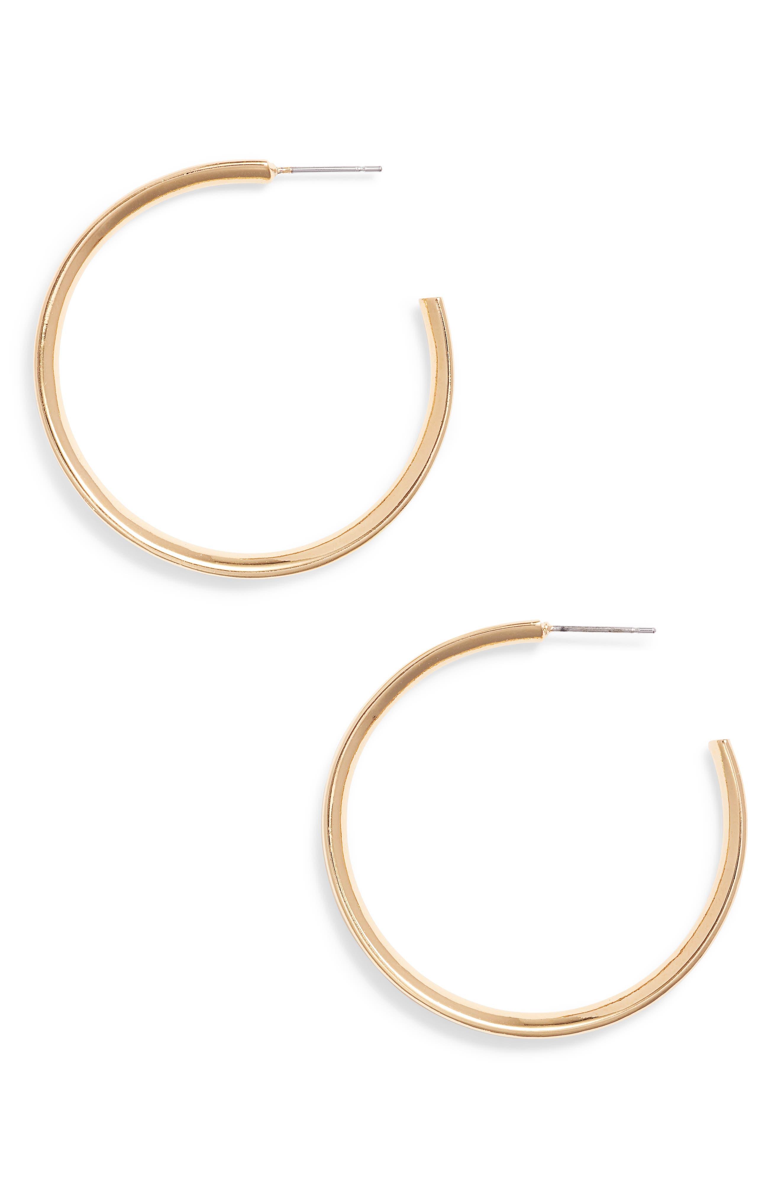 Heart Shaped Hoop Earrings,                         Main,                         color, Gold