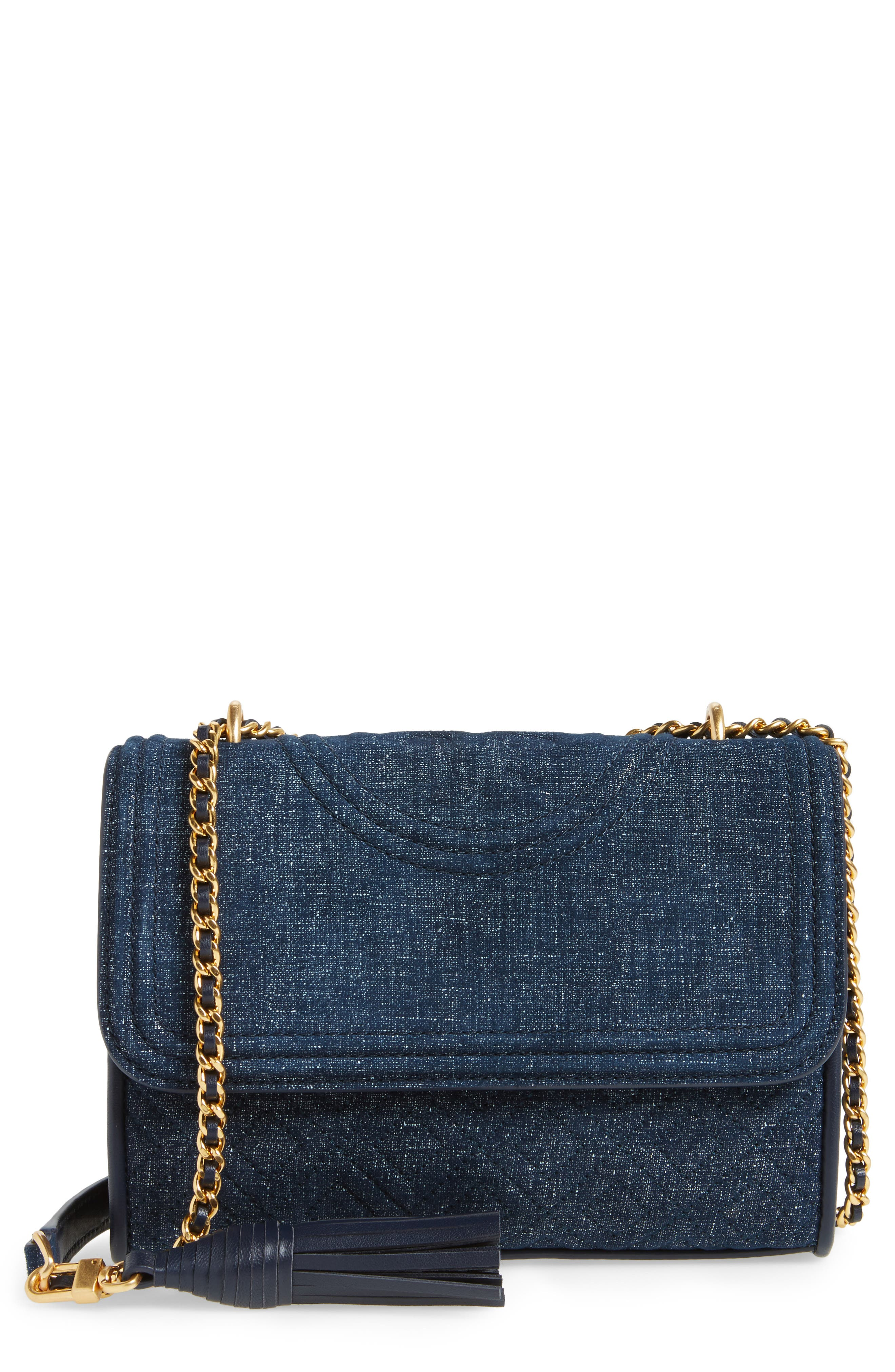 Small Fleming Logo Quilted Denim Shoulder/Crossbody Bag,                             Main thumbnail 1, color,                             Tory Navy