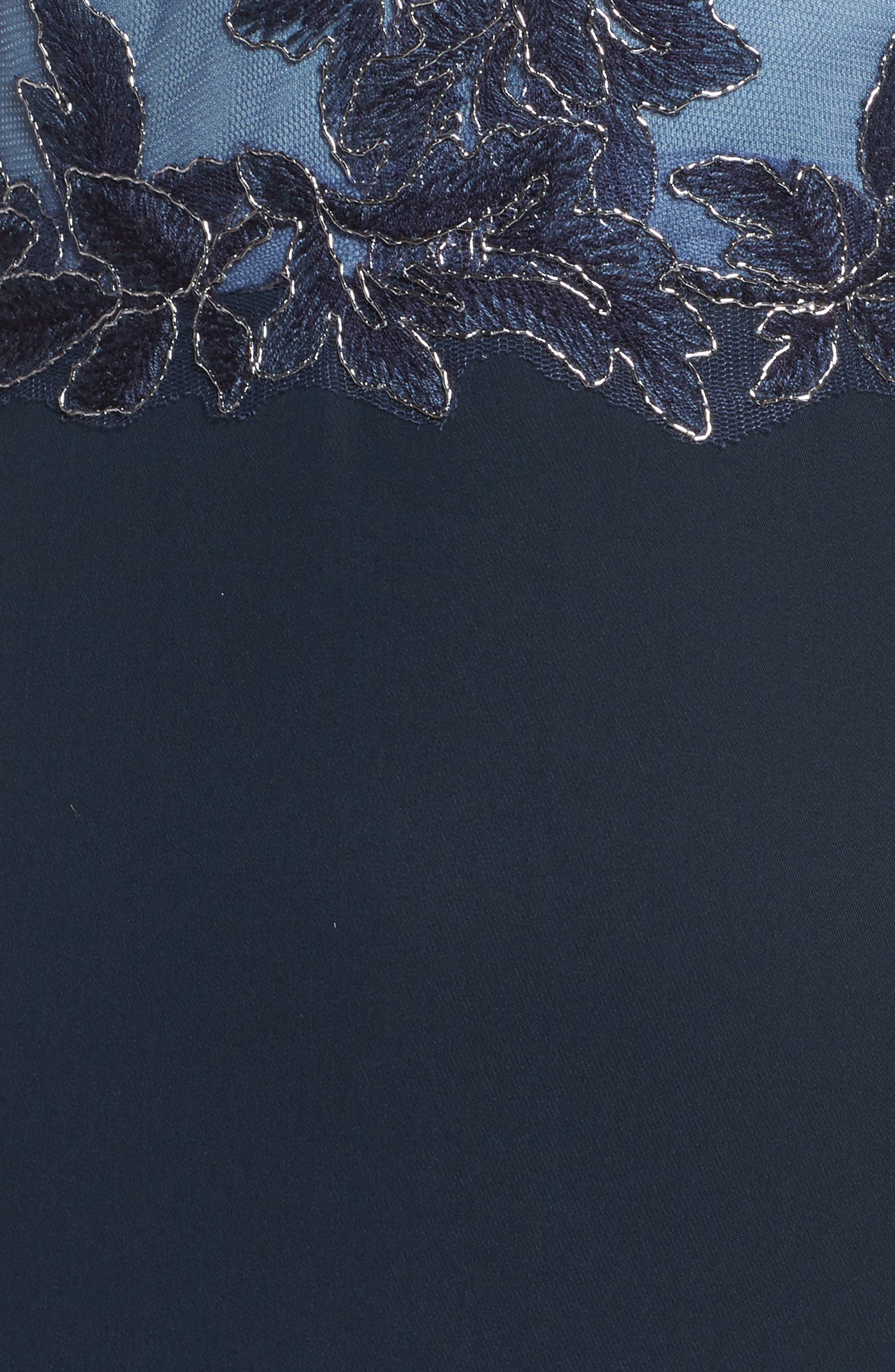 Alternate Image 6  - Tadashi Shoji Embroidered Mesh & Crepe Gown (Regular & Petite)