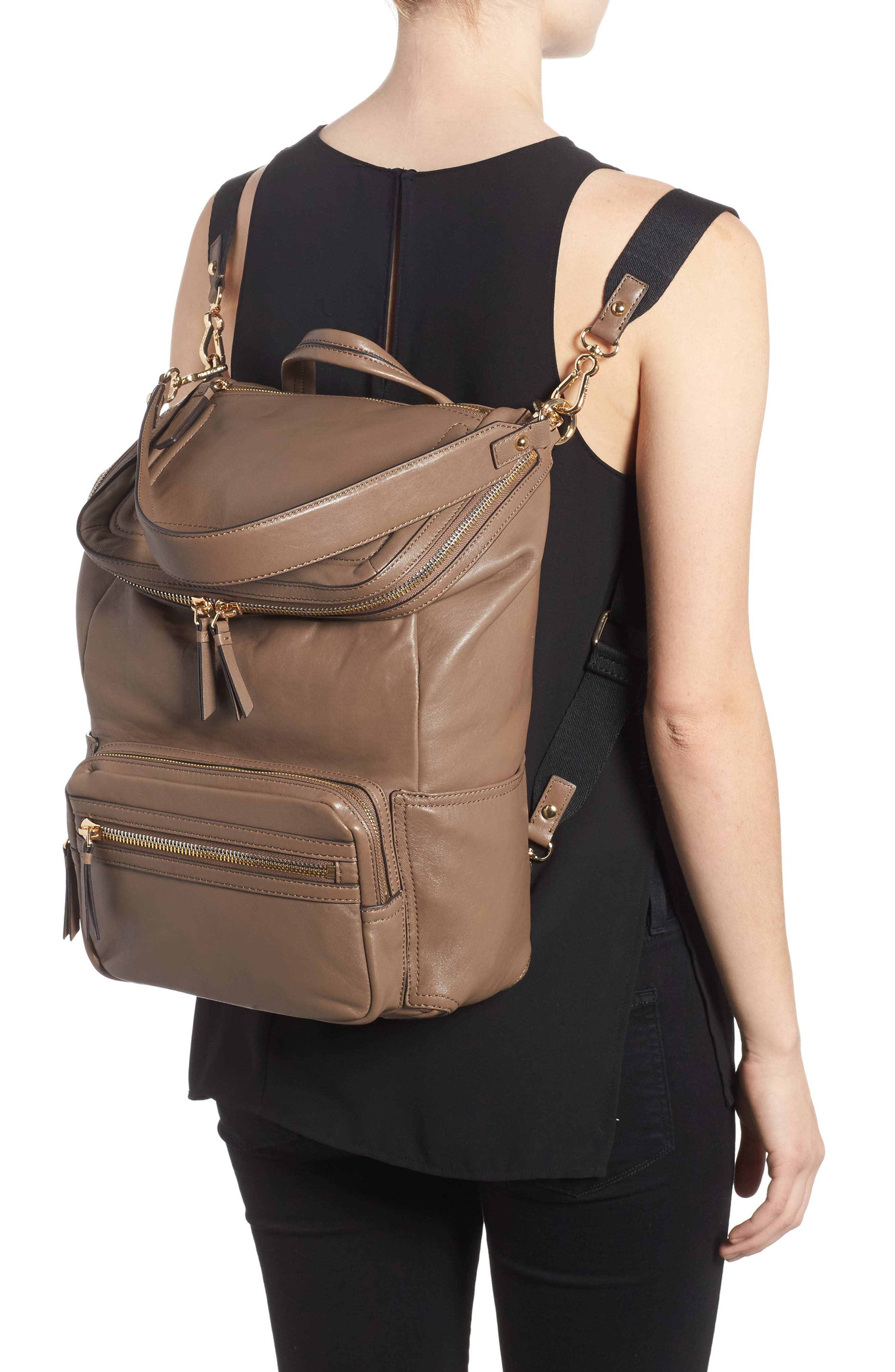 Patch Convertible Leather Backpack,                             Alternate thumbnail 2, color,                             Foxy