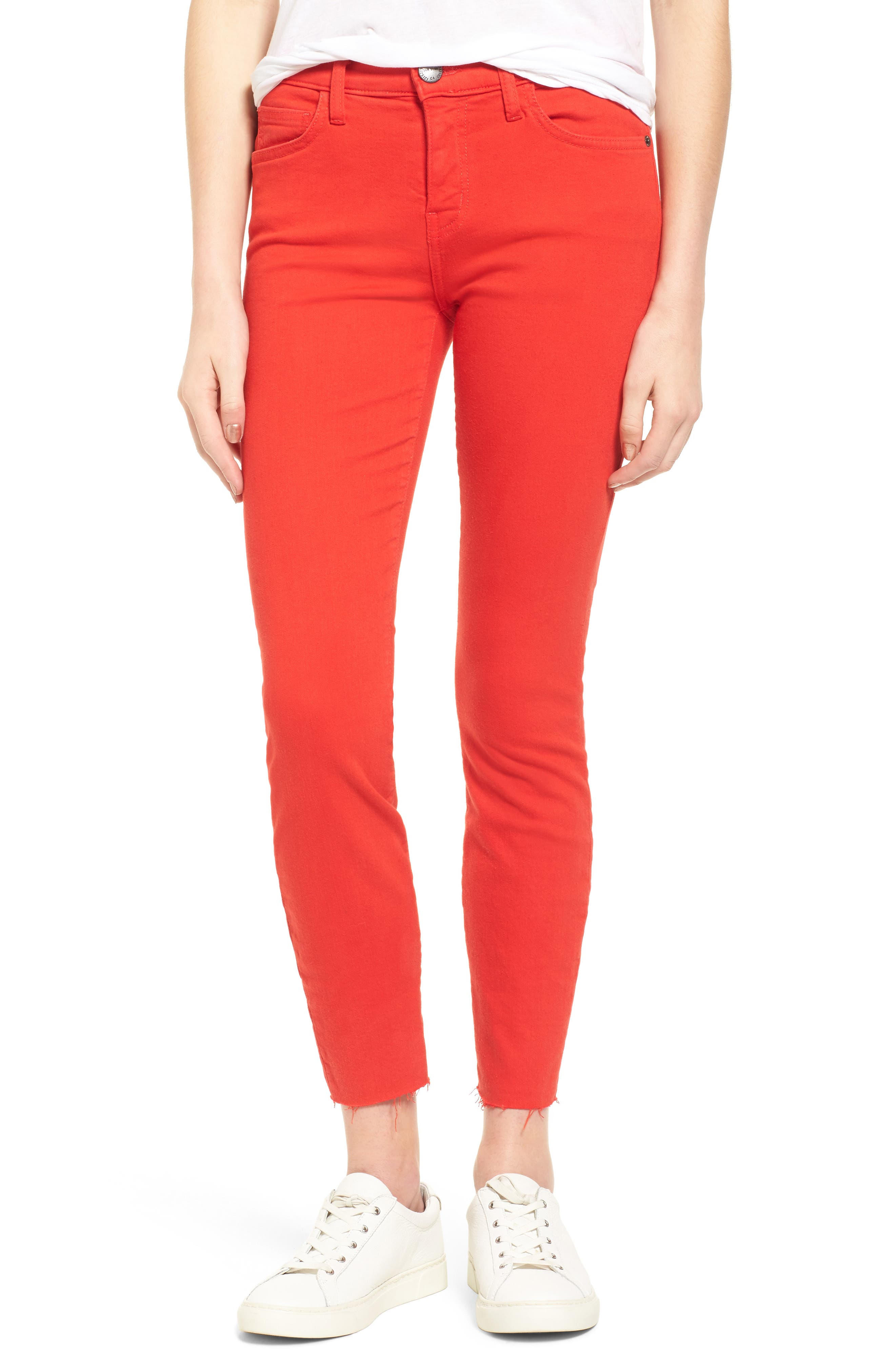 Main Image - Current/Elliott The Stiletto Crop Skinny Jeans (Racing Red)