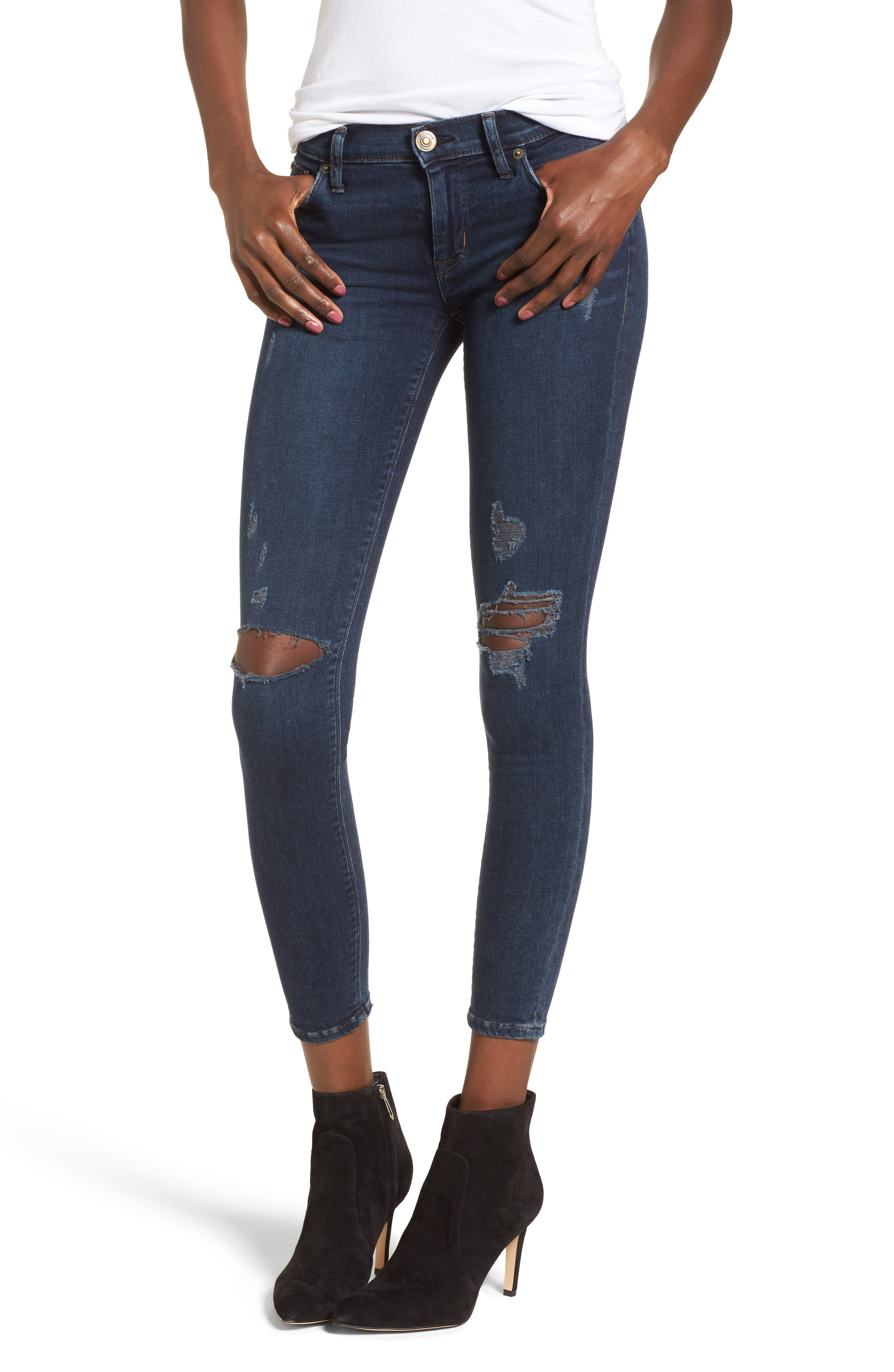 Main Image - Hudson Jeans Krista Ankle Super Skinny Jeans (Pillow Talk)