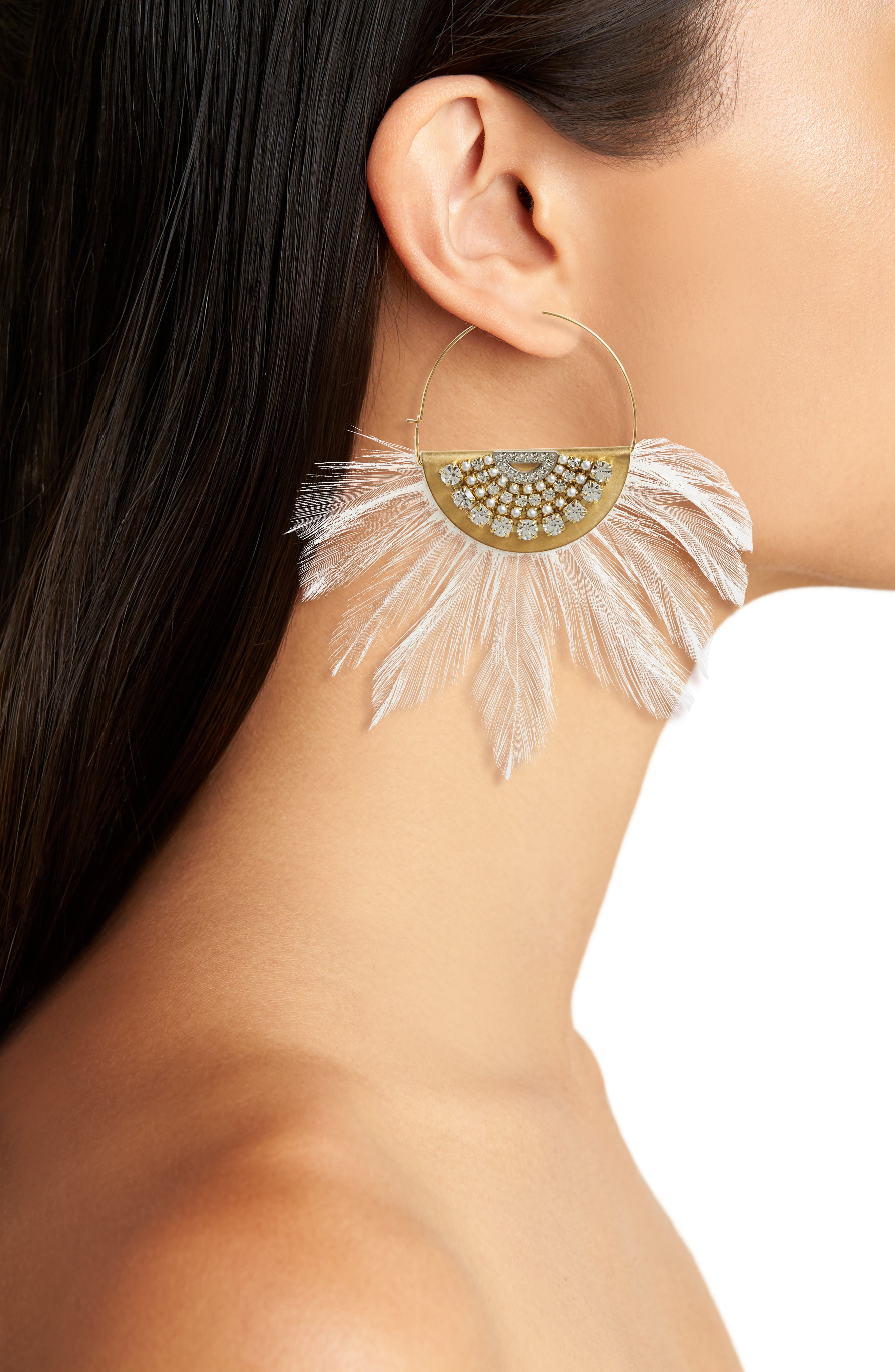 Embellished Feather Hoop Earrings,                             Alternate thumbnail 2, color,                             White/ Gold
