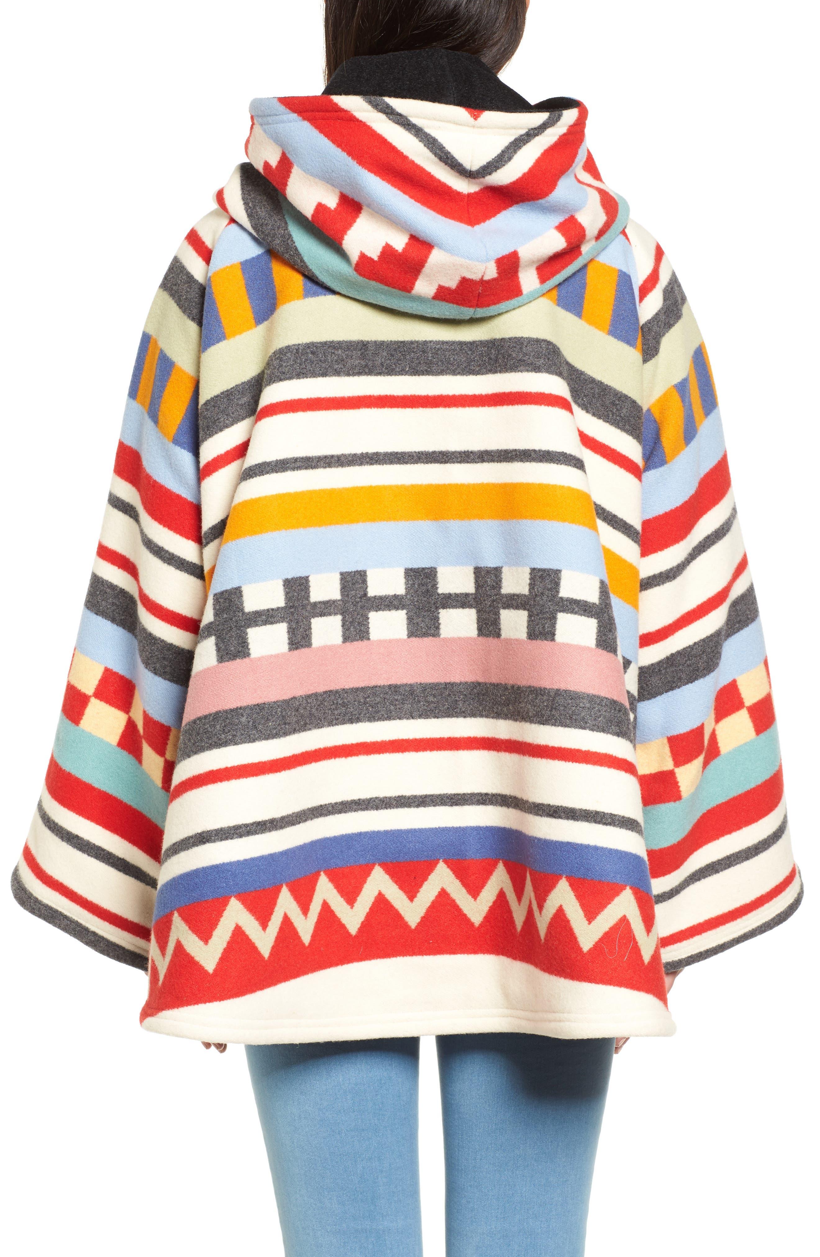 x Pendleton Wool Blend Hooded Cape,                             Alternate thumbnail 2, color,                             White Multi