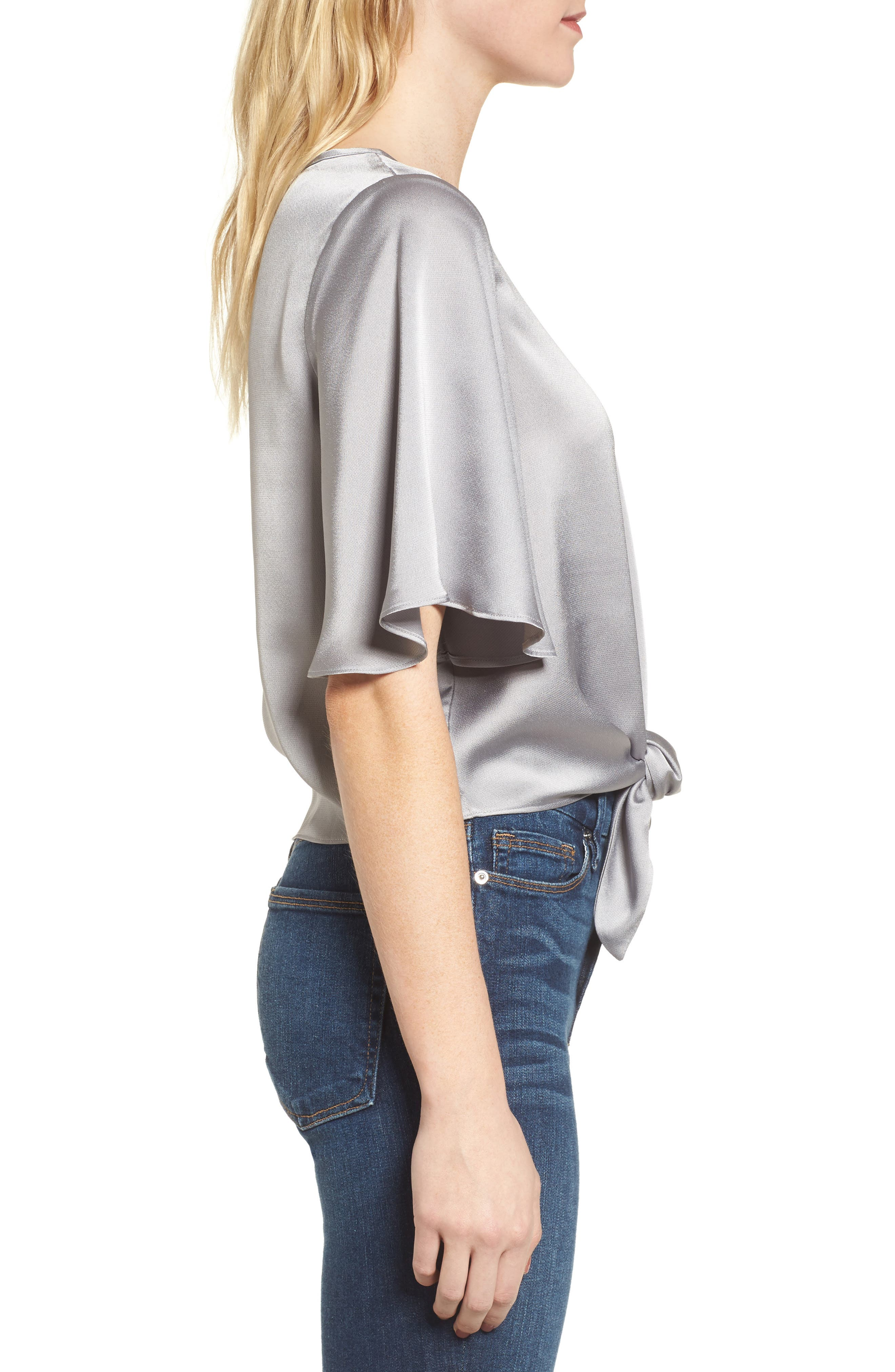 Tied Top,                             Alternate thumbnail 3, color,                             Grey