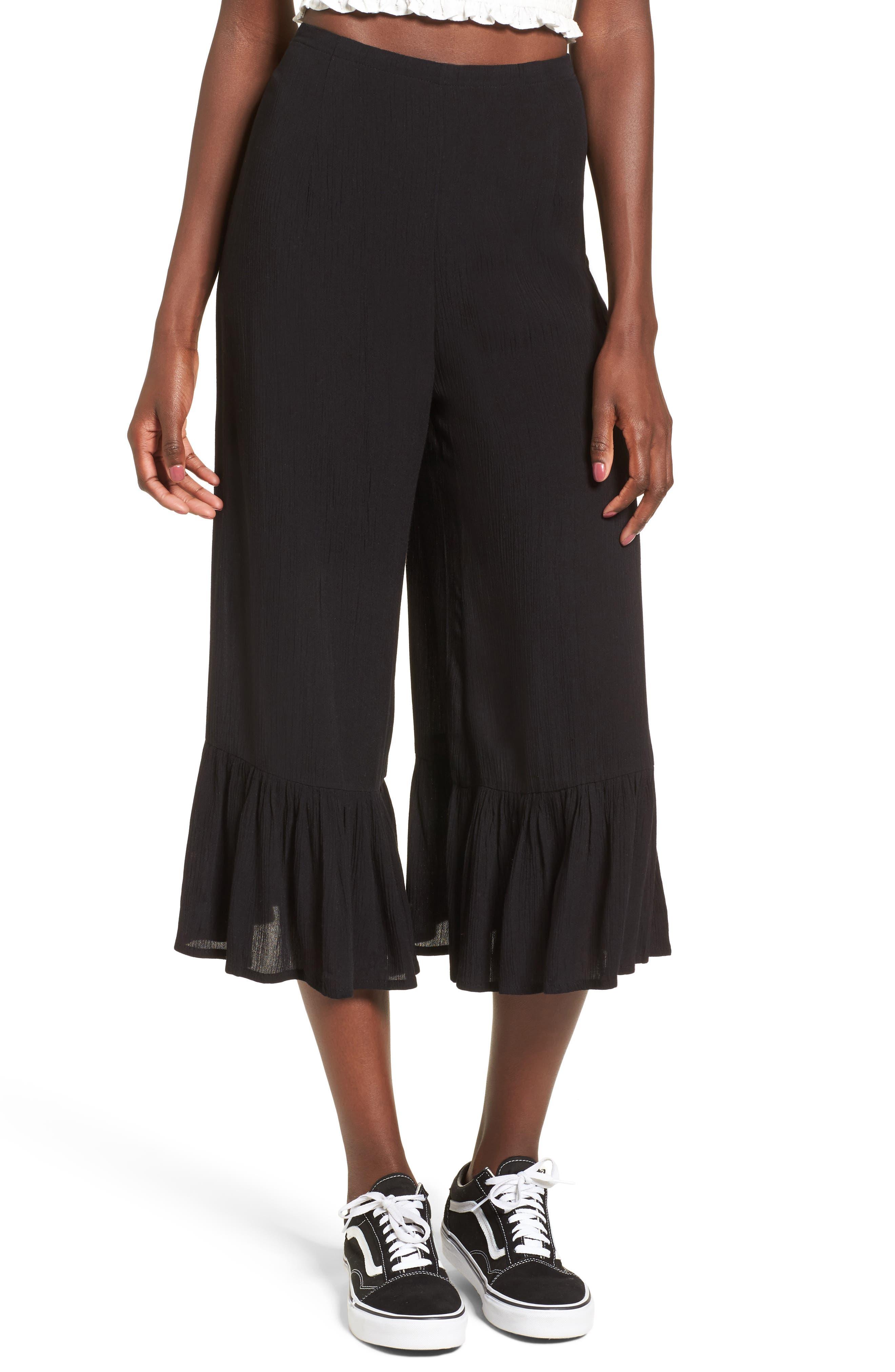 Strange Talk Crop Ruffle Hem Pants,                         Main,                         color, Solid Black