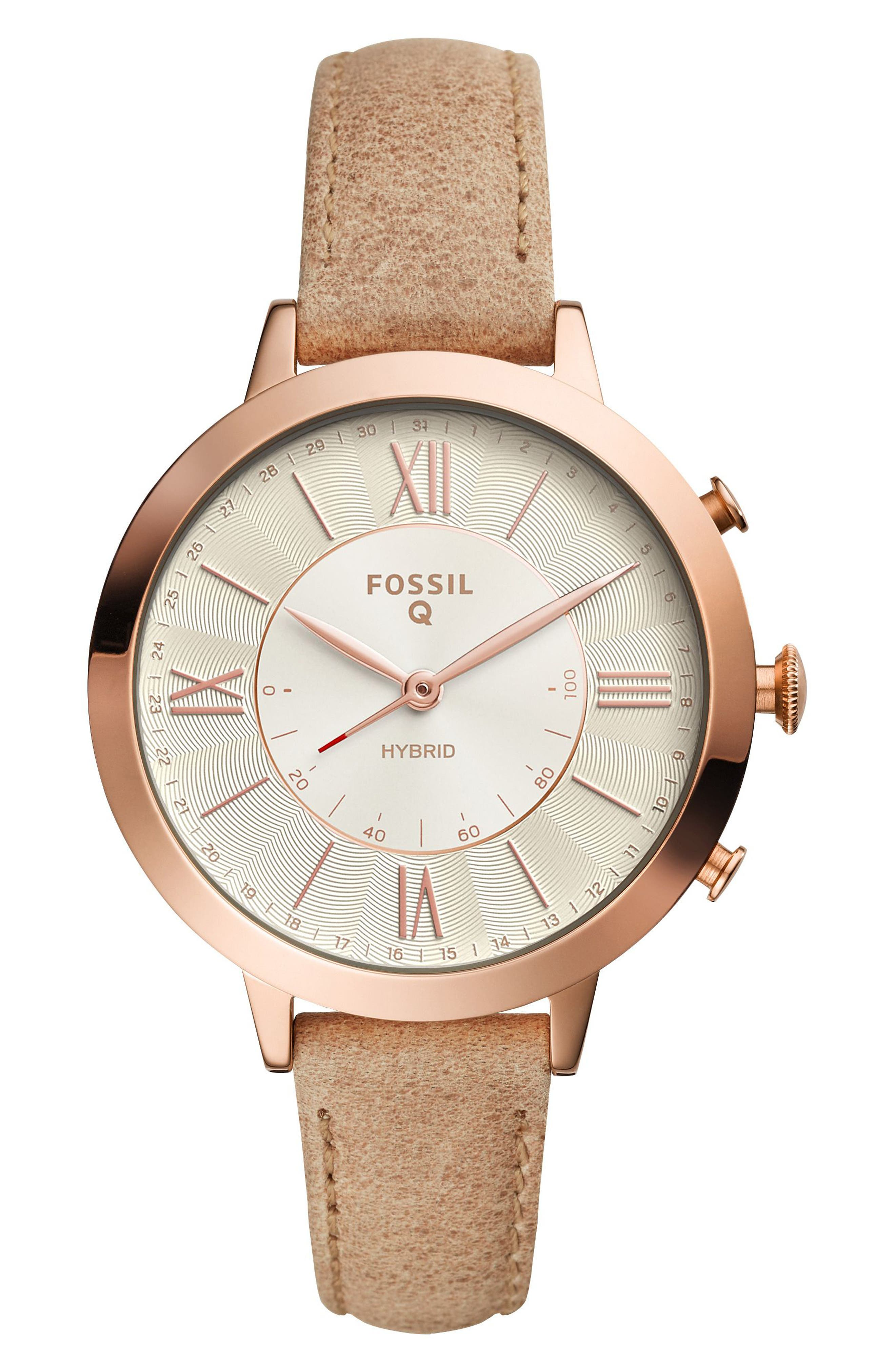 Jacqueline Leather Strap Hybrid Smart Watch, 36mm,                             Main thumbnail 1, color,                             Beige/ White/ Rose Gold