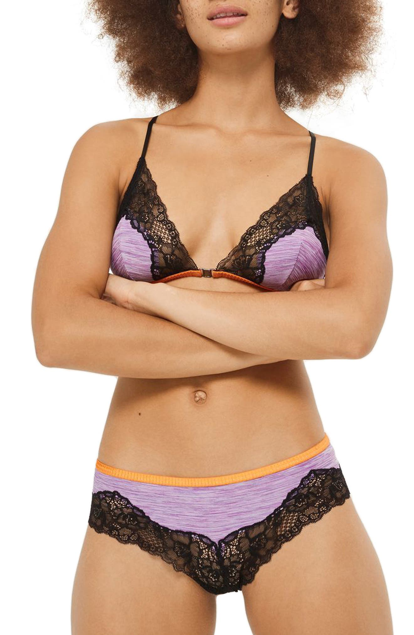 Main Image - Topshop Alexis Wireless Lace Trim Jersey Bra