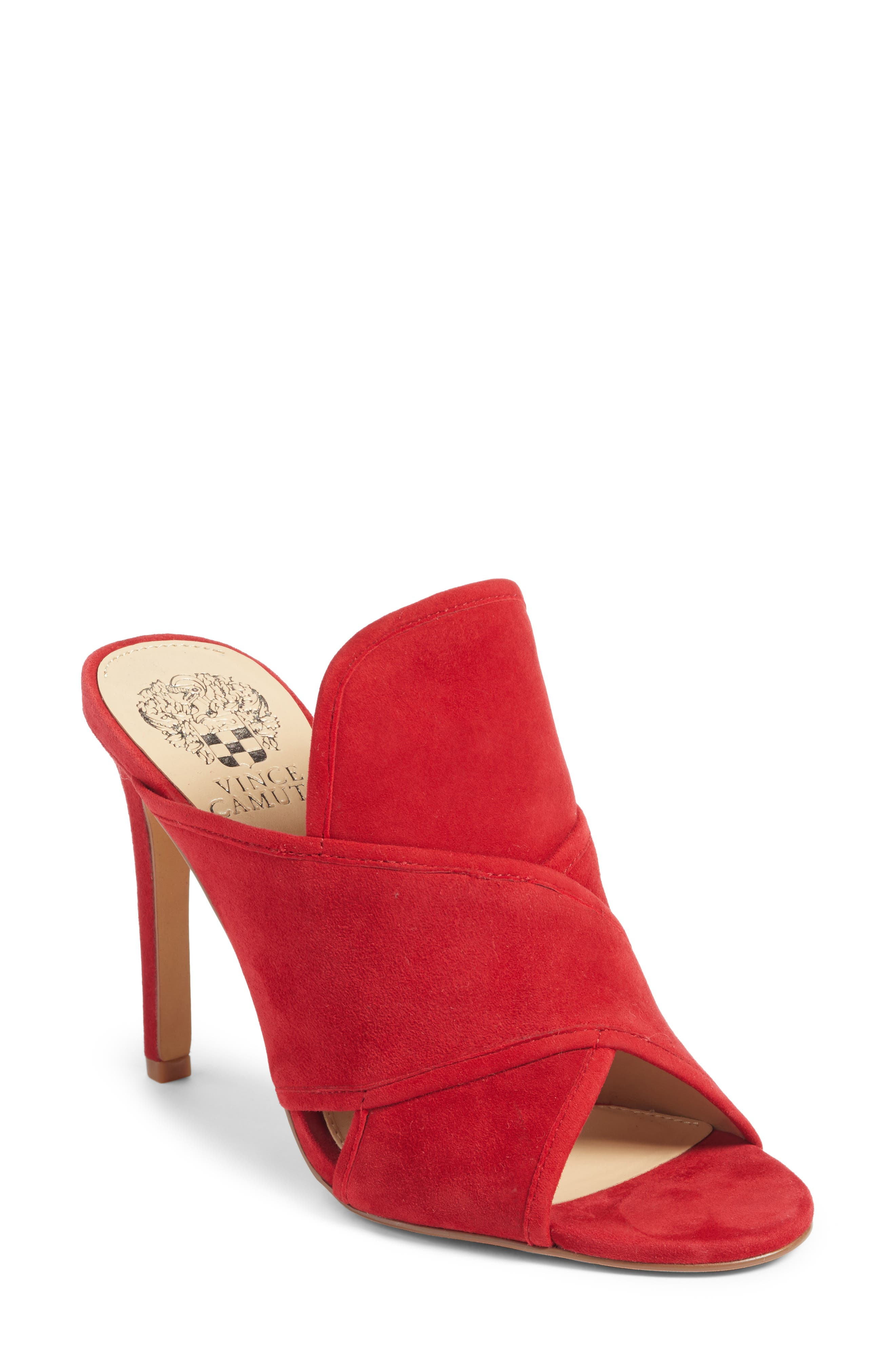 Kizzia Mule,                         Main,                         color, Cherry Red Suede