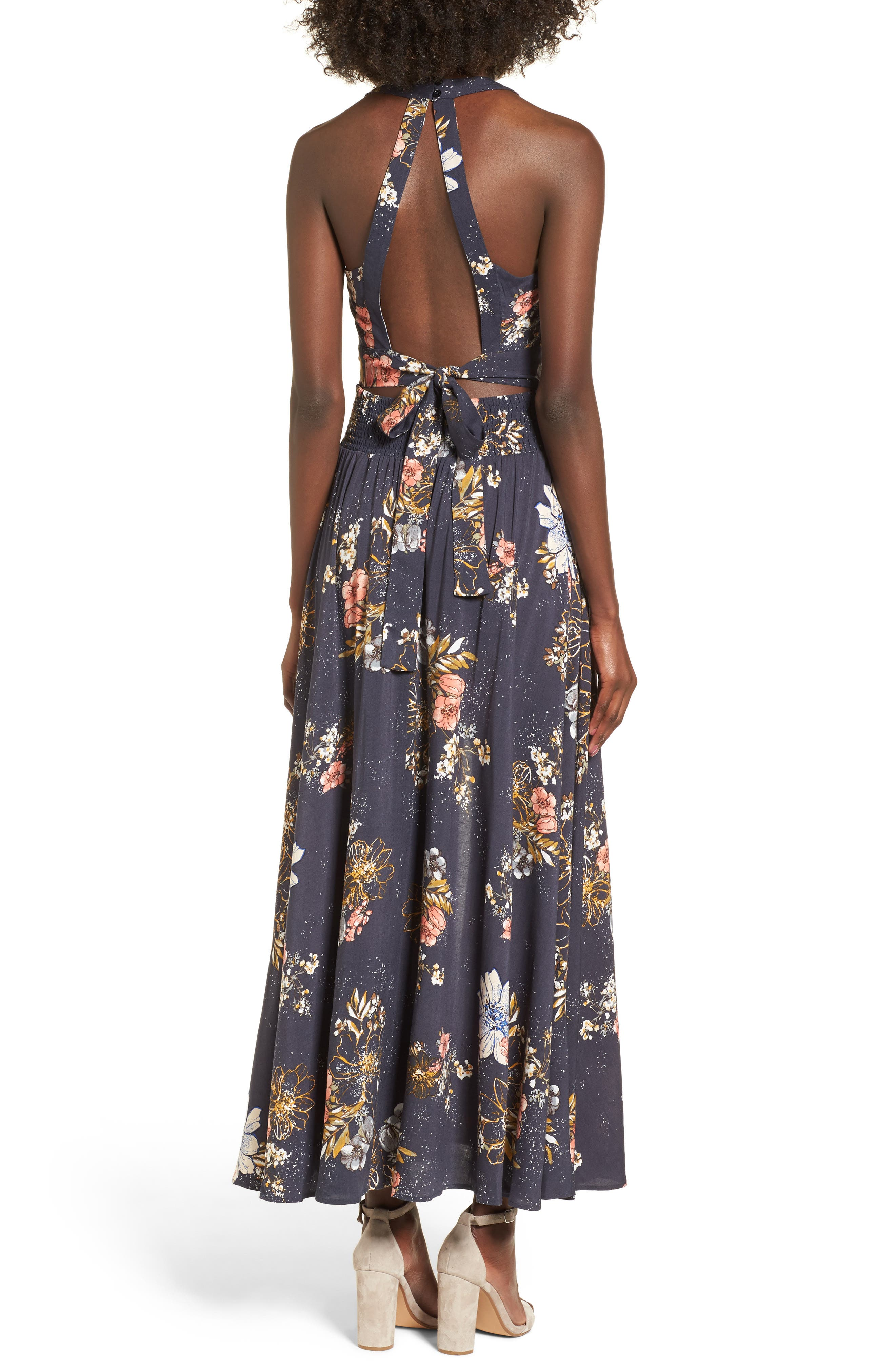 Floral Print Halter Maxi Dress,                             Alternate thumbnail 2, color,                             Navy Egret Abstract Floral