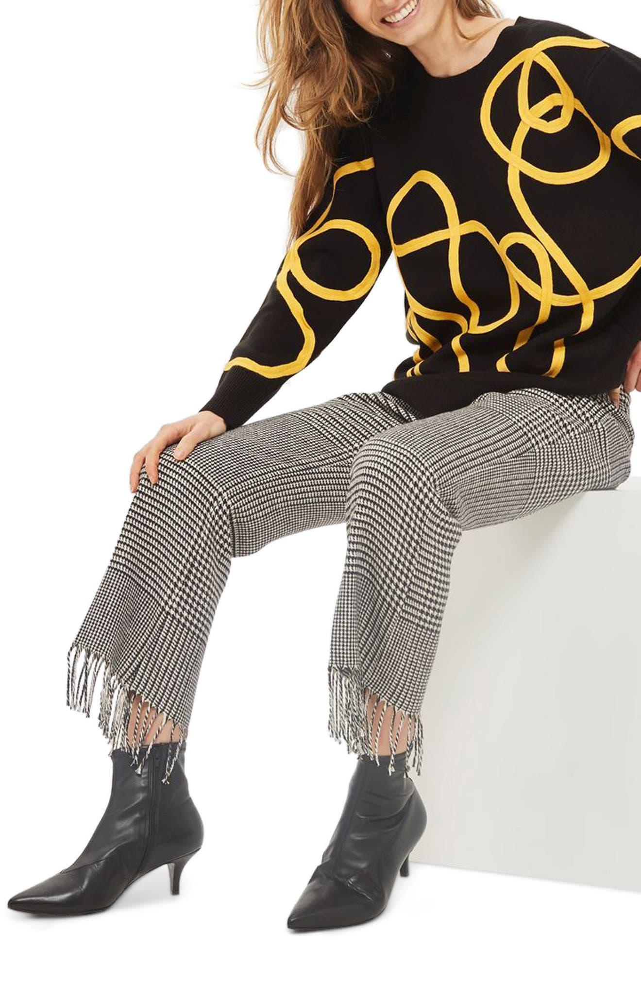 Fringe Hem Check Trousers,                             Alternate thumbnail 3, color,                             Black Multi