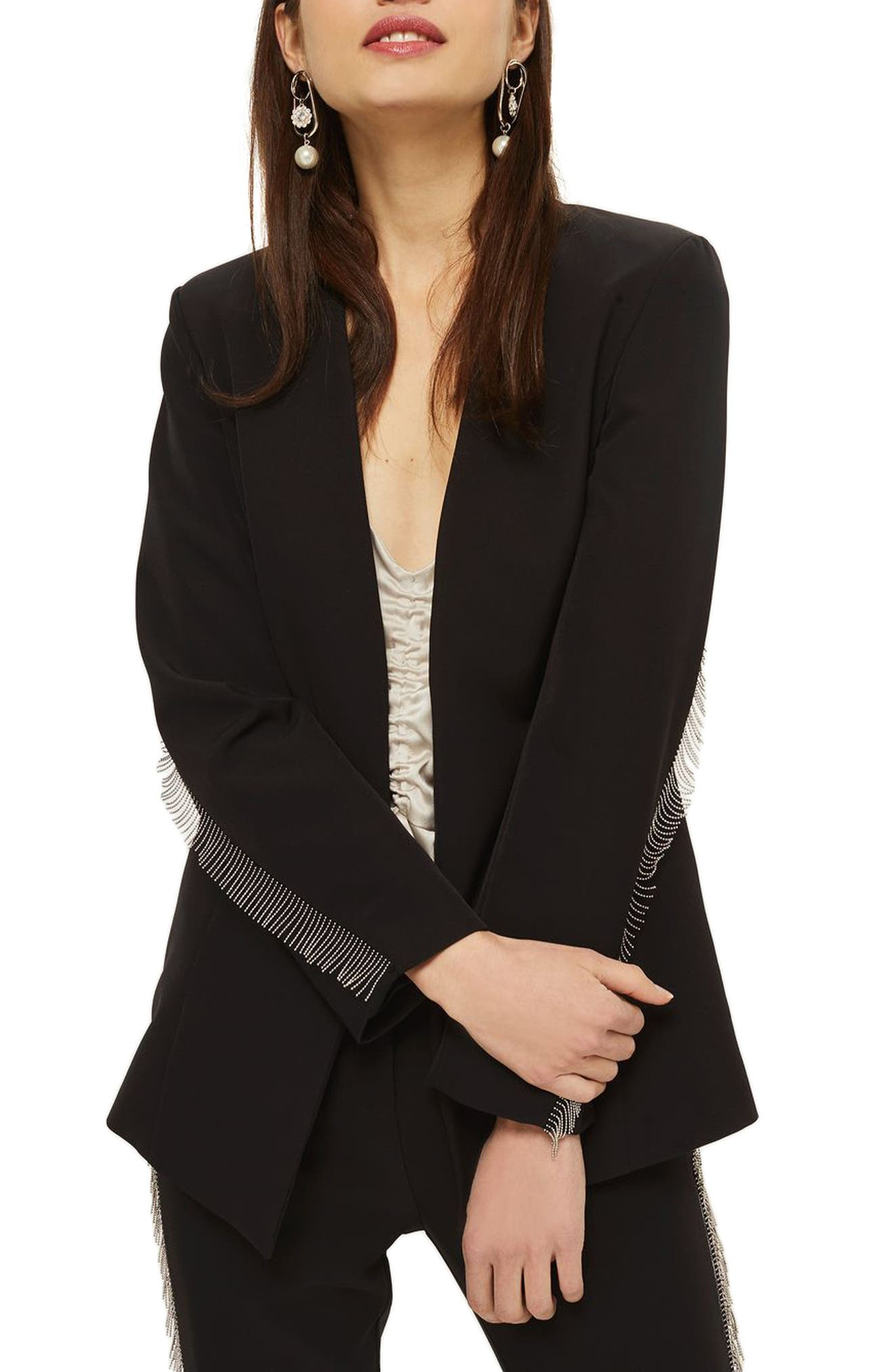 Chain Frill Jacket,                             Alternate thumbnail 3, color,                             Black