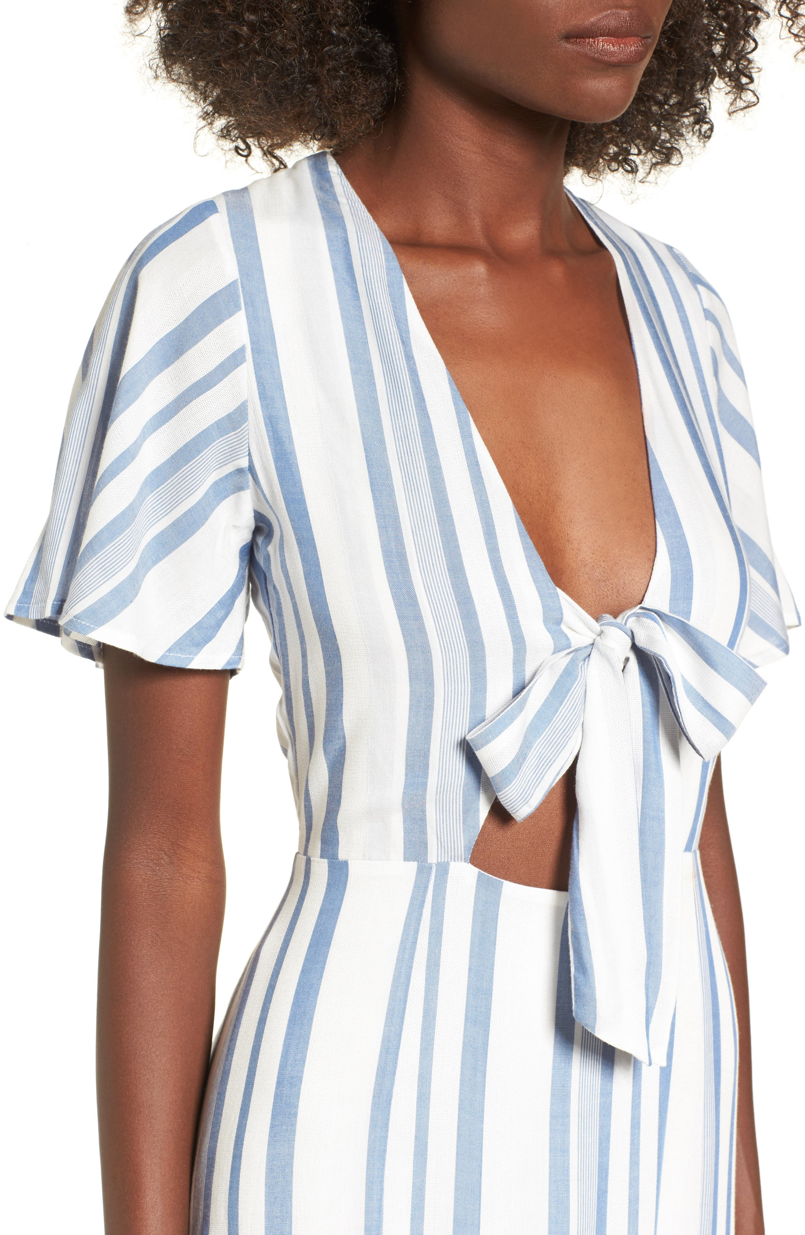 Bow Front Marina Maxi Dress,                             Alternate thumbnail 4, color,                             White/ Blue
