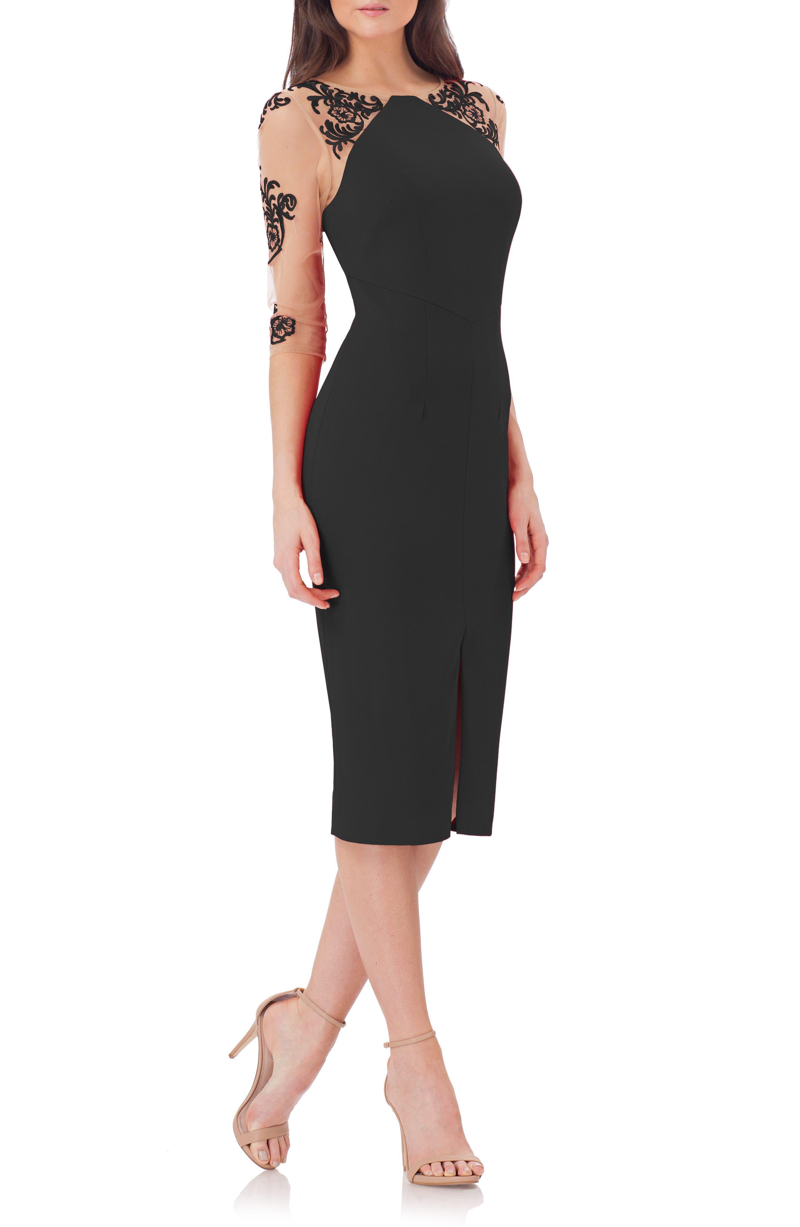 Illusion Sleeve Sheath Dress,                         Main,                         color, Black/ Nude