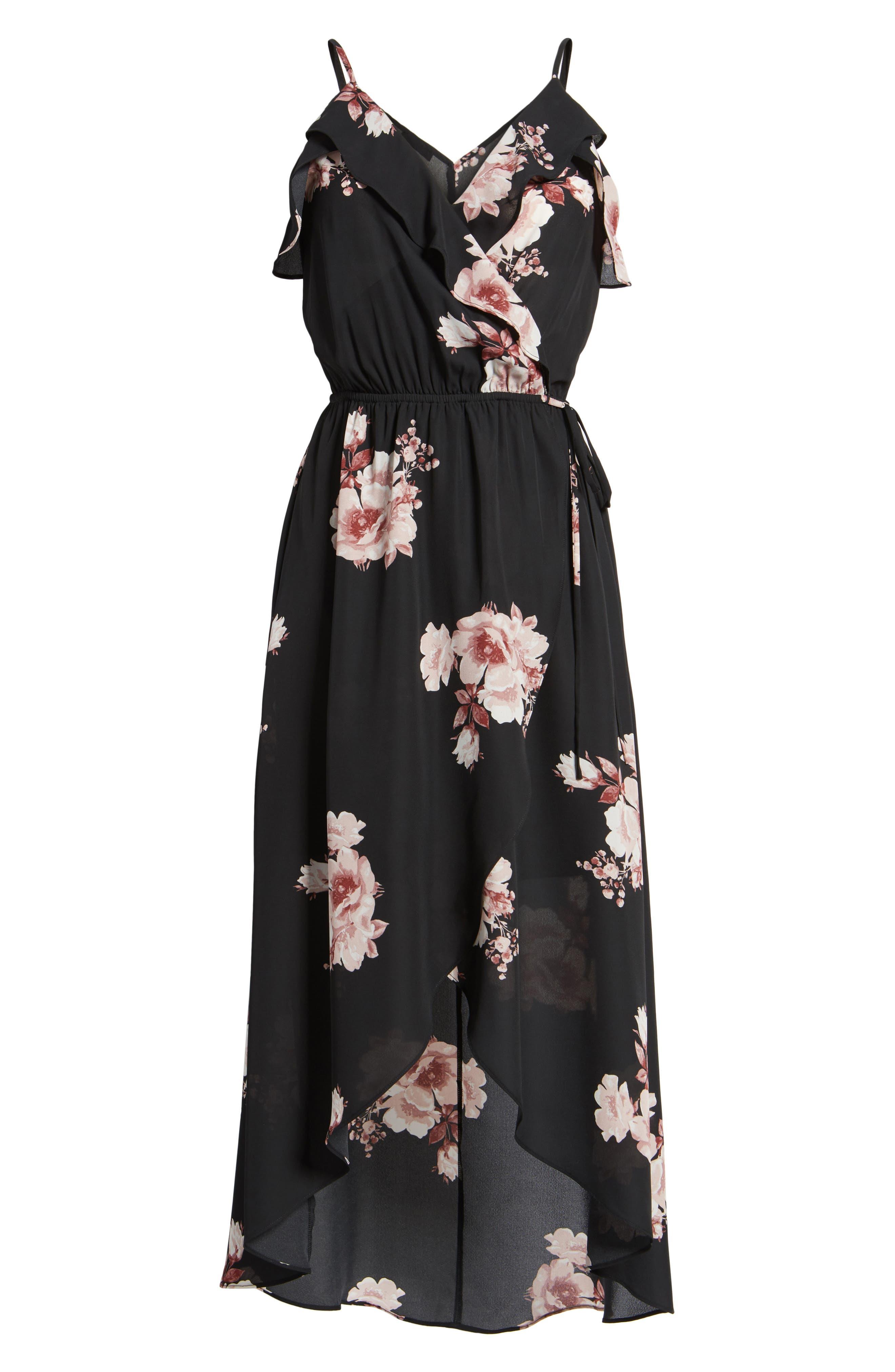 Ruffle Surplice Dress,                             Alternate thumbnail 6, color,                             75 Black Mauve