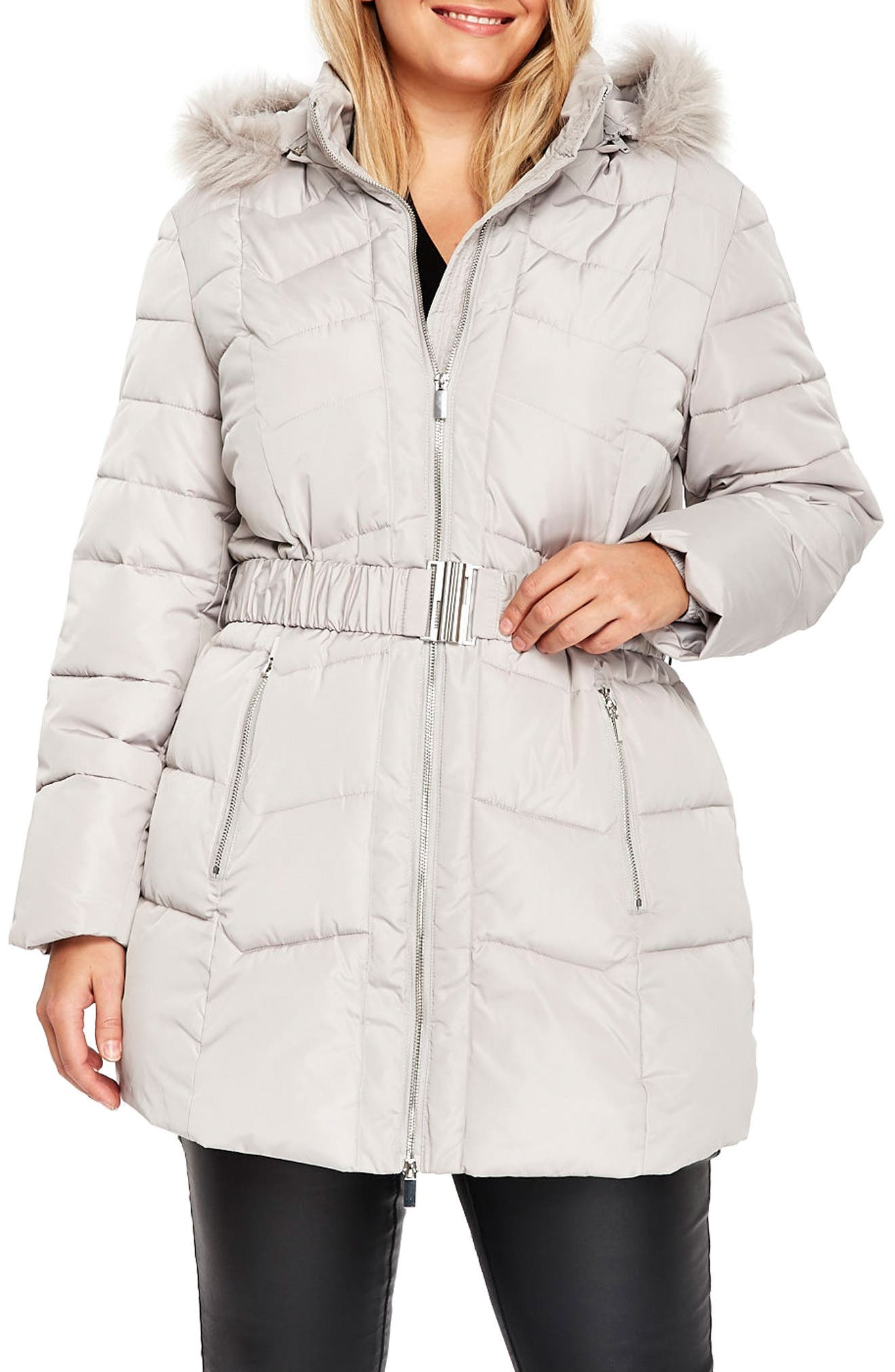 Evans Belted Puffer Jacket with Faux Fur Trim (Plus Size)