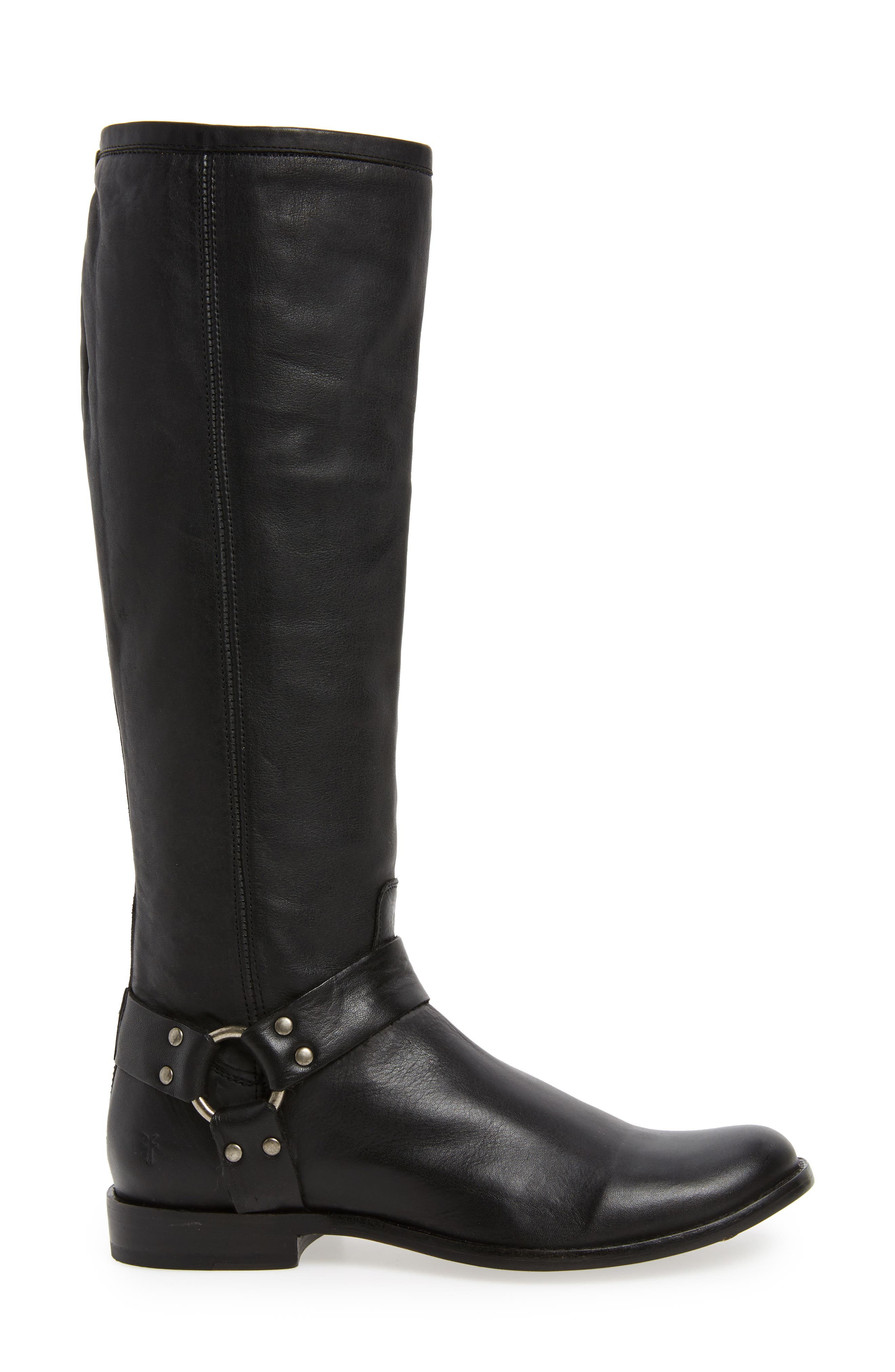Phillip Harness Tall Boot,                             Alternate thumbnail 3, color,                             Black Leather