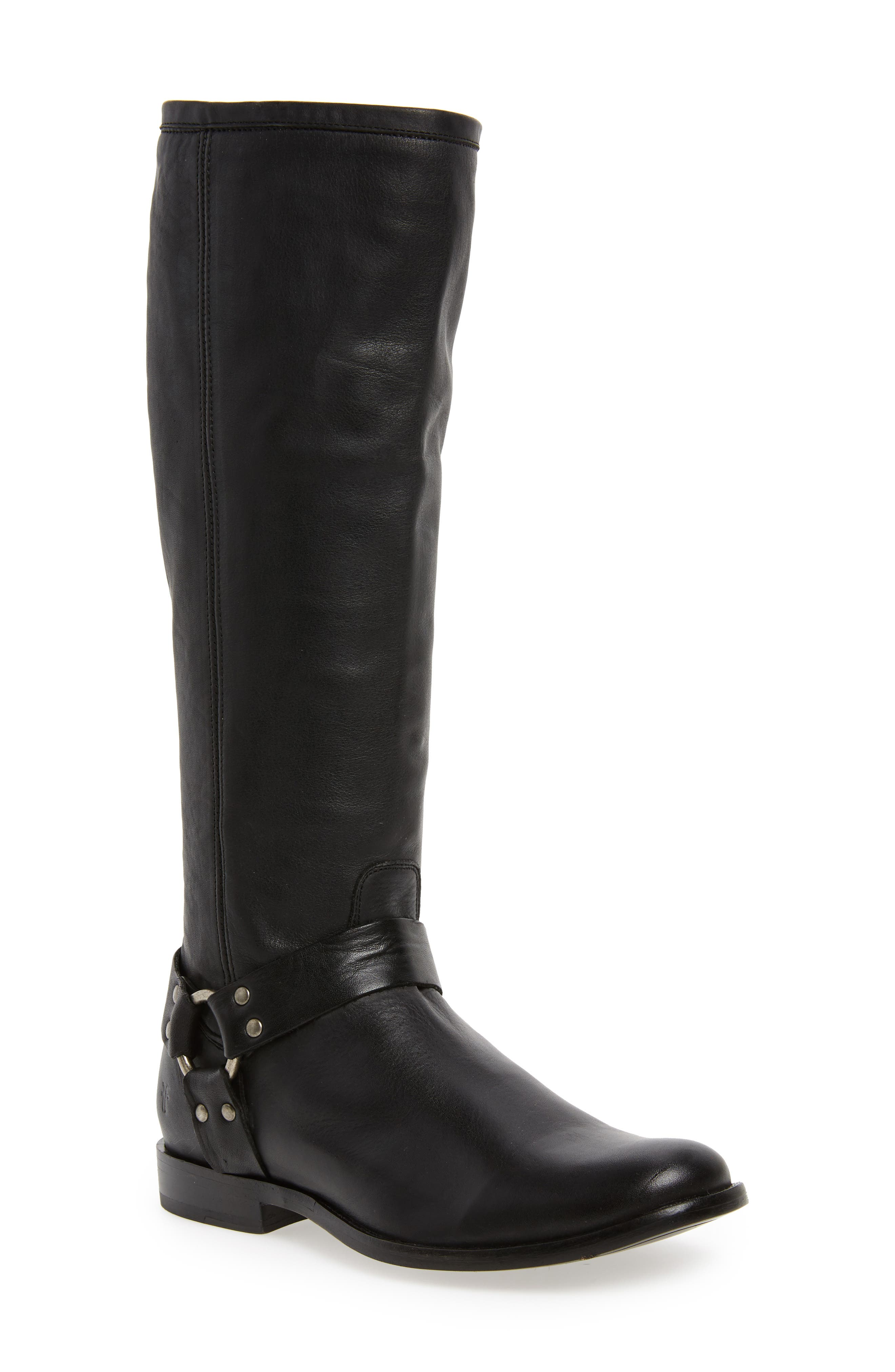 Phillip Harness Tall Boot,                             Main thumbnail 1, color,                             Black Leather