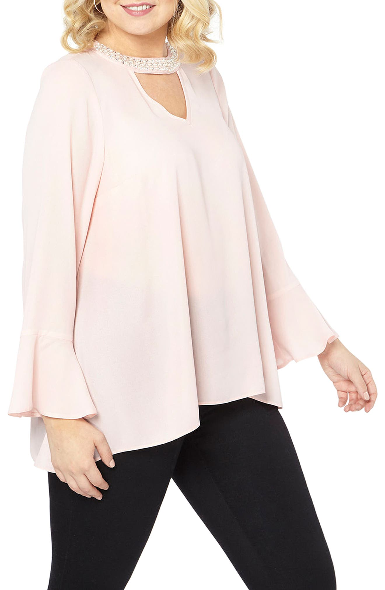 Alternate Image 3  - Evans Bell Sleeve Pearly Choker Neck Top (Plus Size)