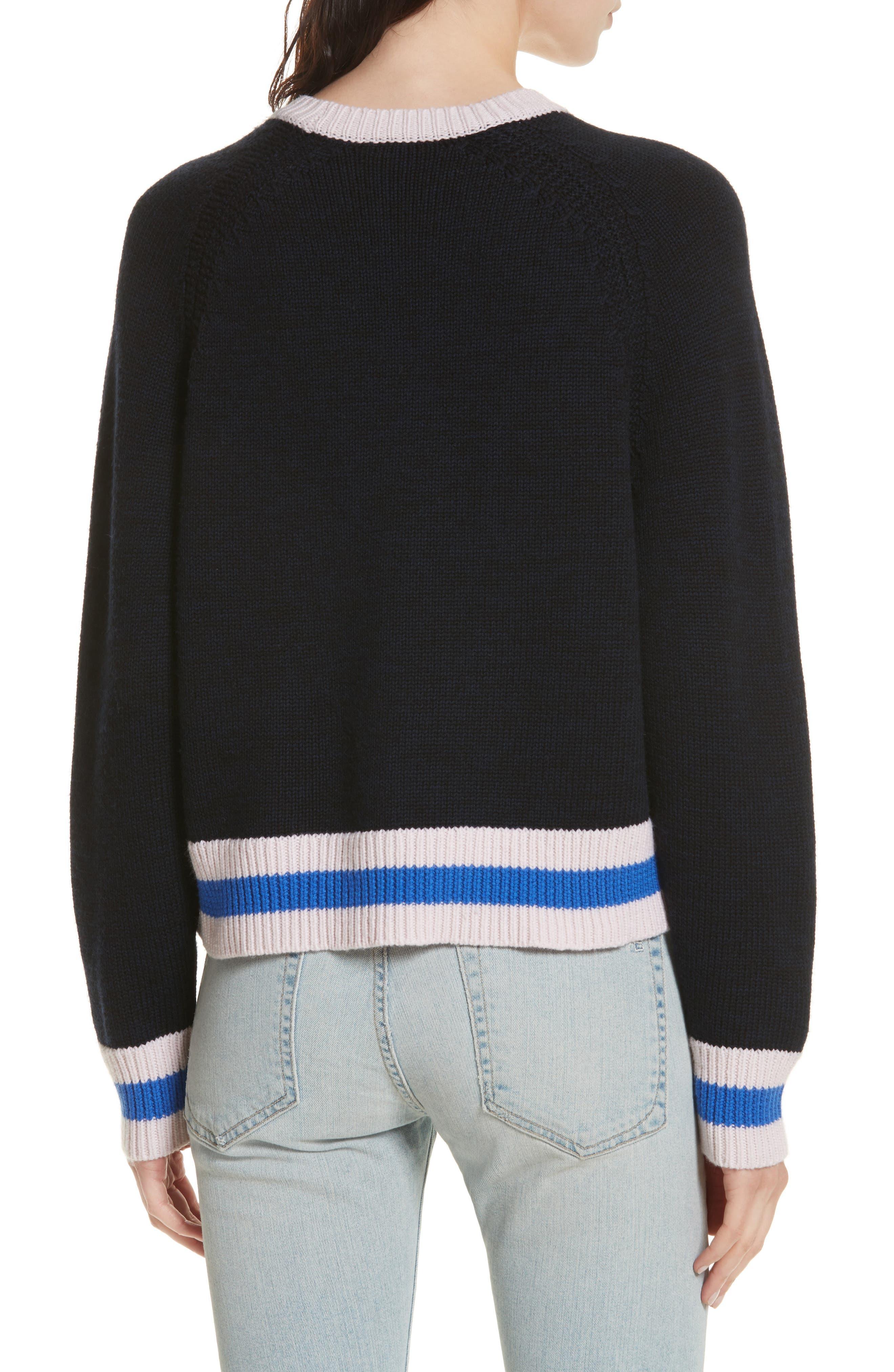 Hattie Crewneck Merino Wool Sweater,                             Alternate thumbnail 2, color,                             Navy