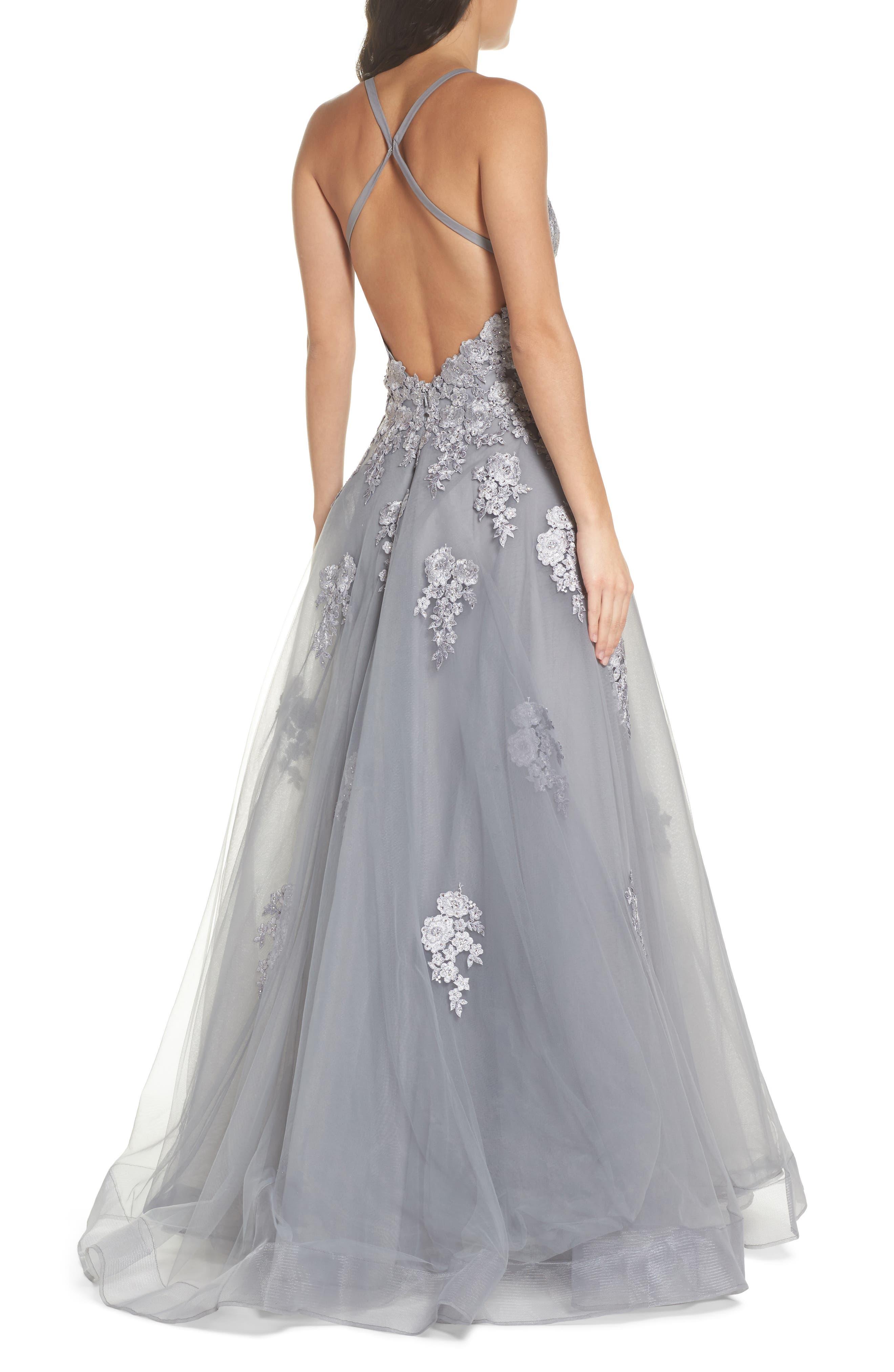Alternate Image 2  - La Femme Embellished Mesh Halter Ballgown