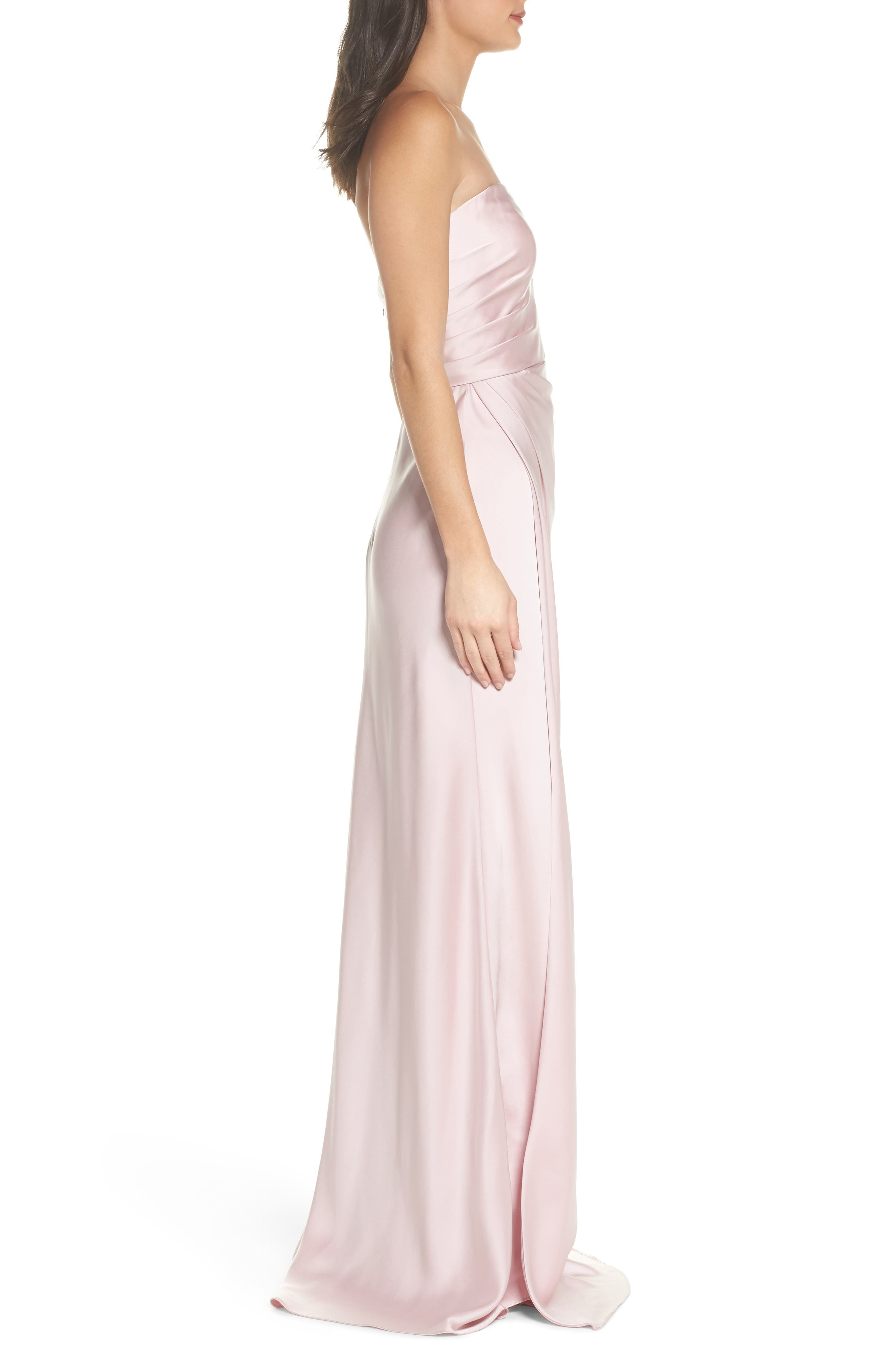 Gathered Strapless Satin Gown,                             Alternate thumbnail 3, color,                             Blush