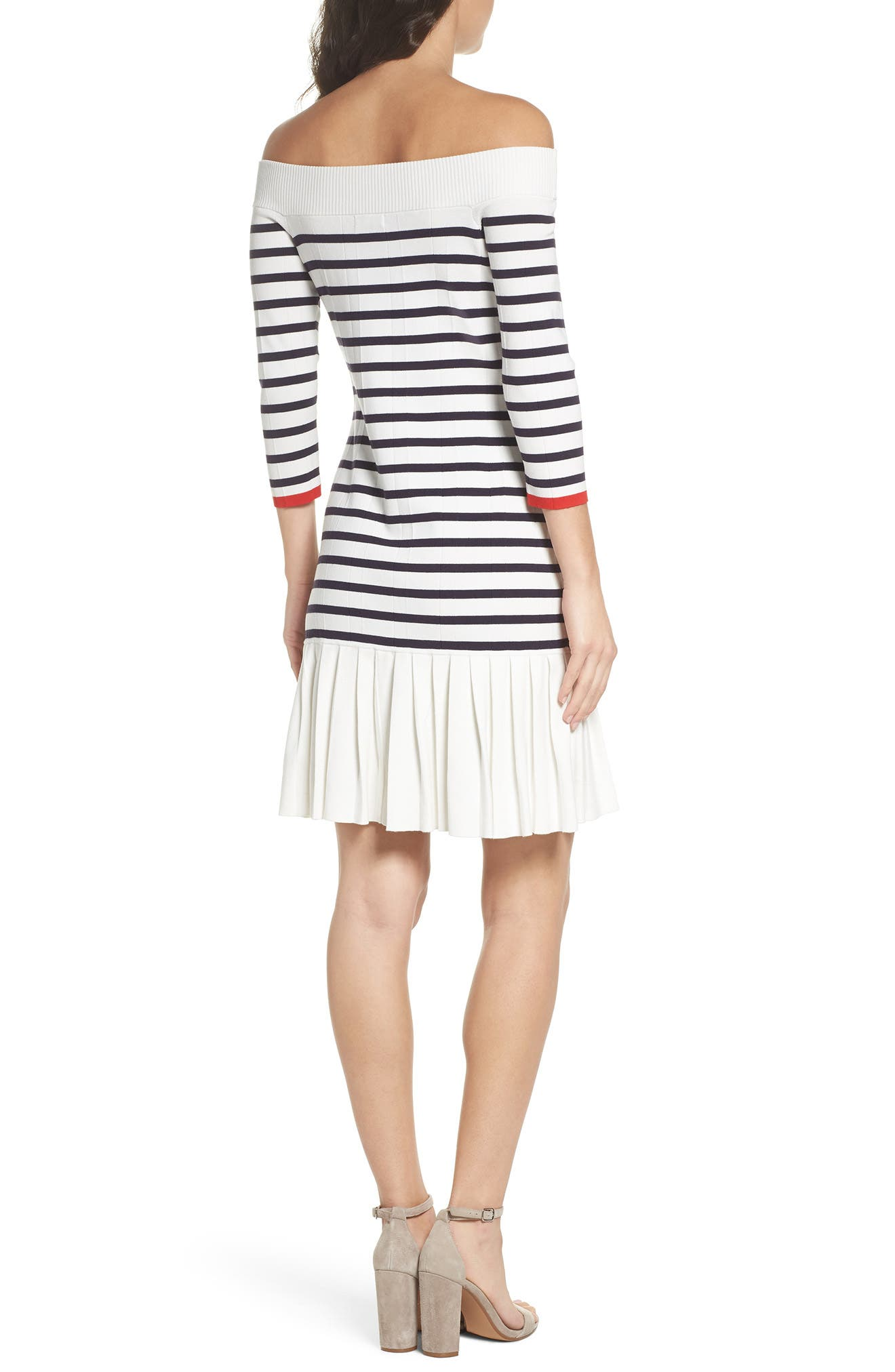 Off the Shoulder Sweater Dress,                             Alternate thumbnail 2, color,                             White Stripe Combo