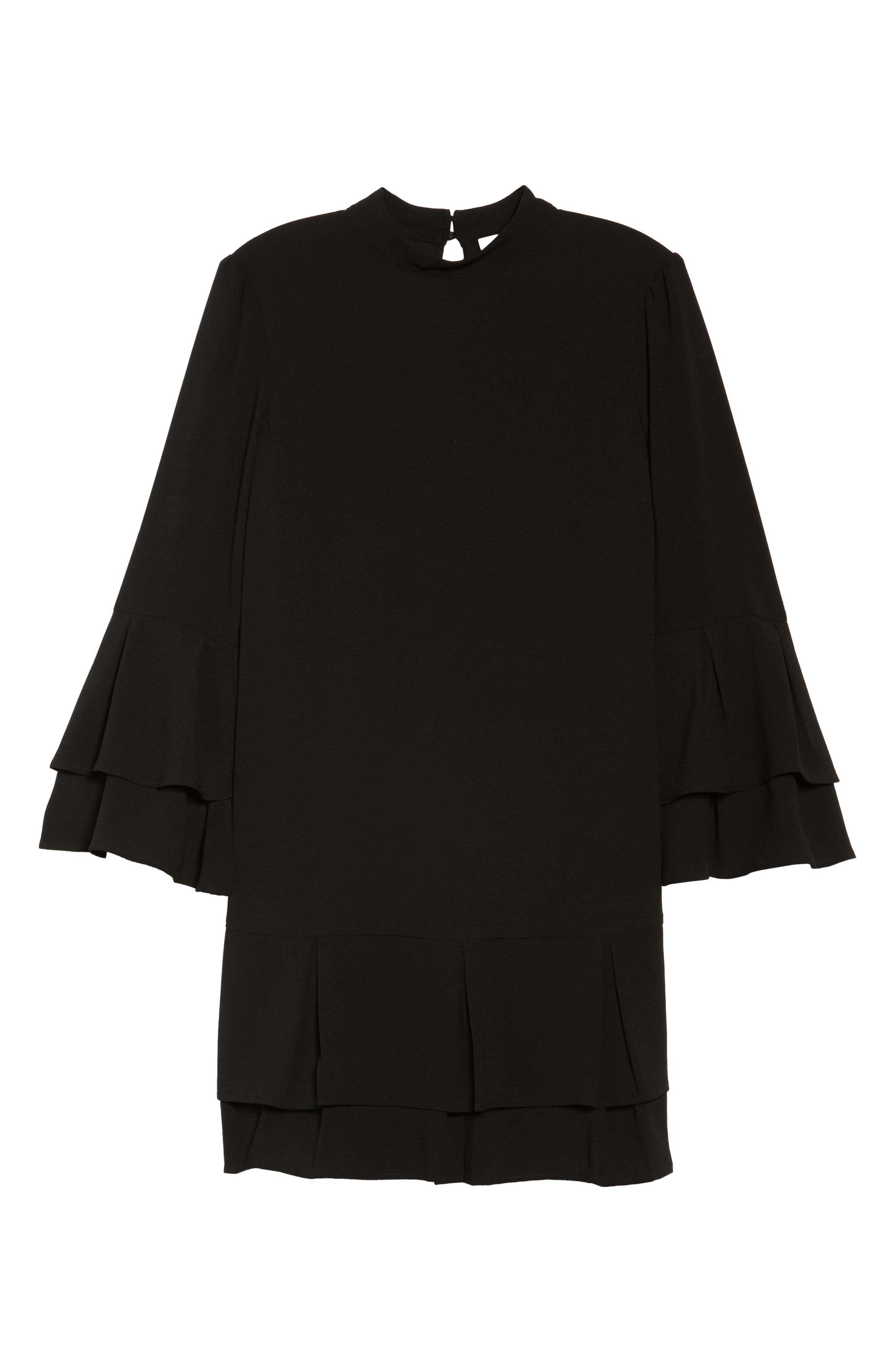 Tiered Sleeve Shift Dress,                             Alternate thumbnail 6, color,                             Black