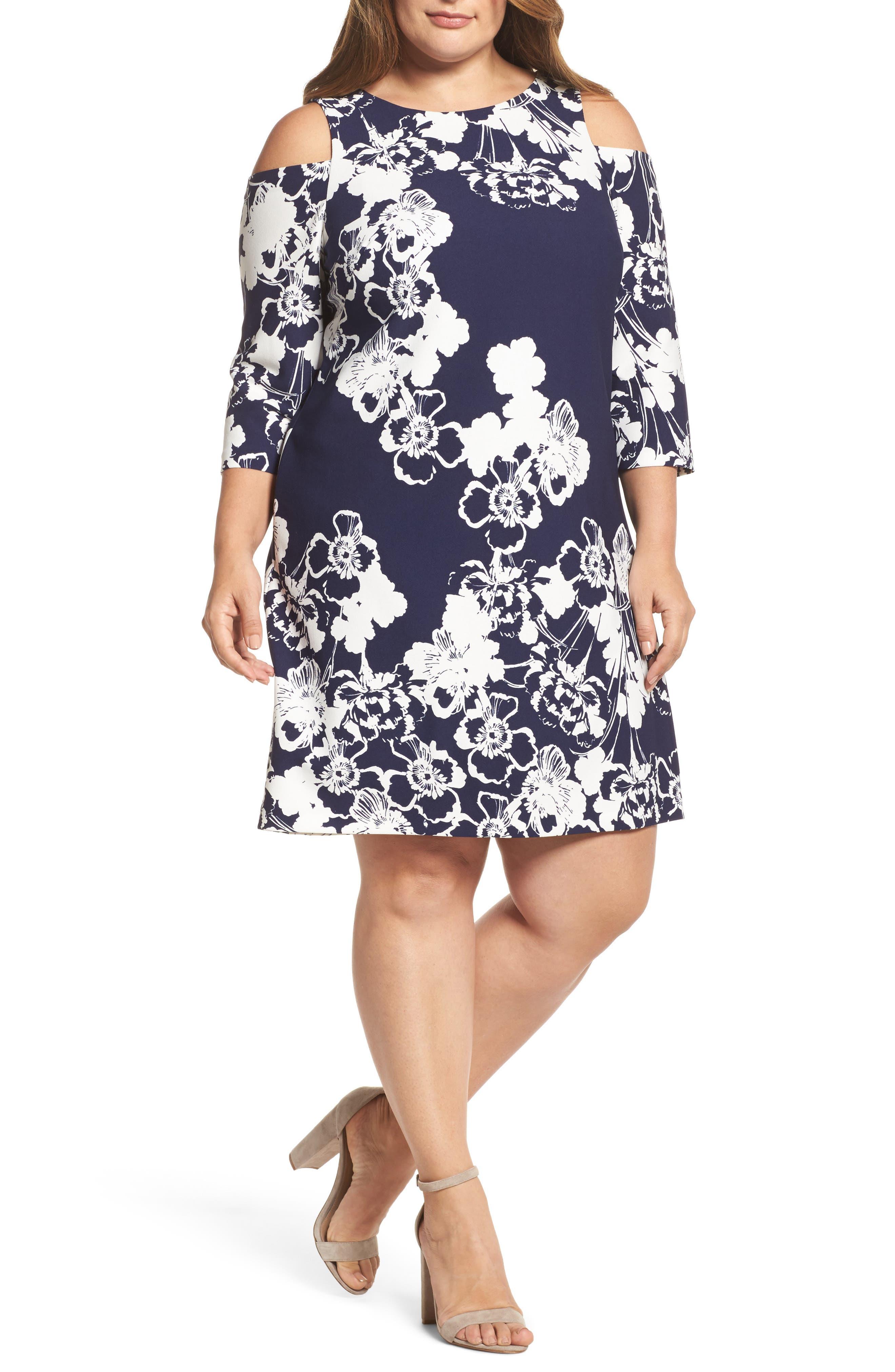 Cold Shoulder Floral Shift Dress,                         Main,                         color, Navy