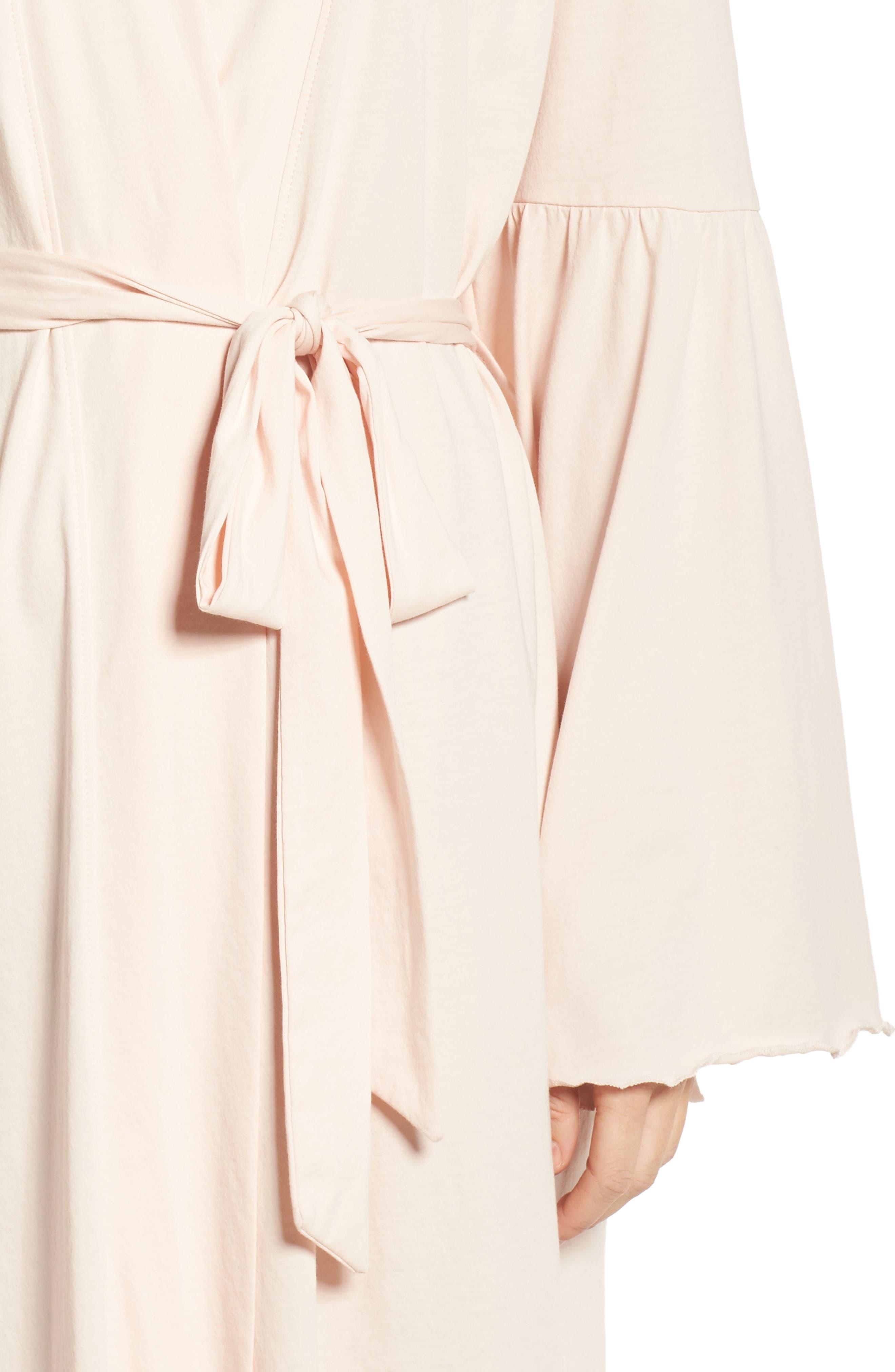 Pima Cotton Robe,                             Alternate thumbnail 4, color,                             Powder Pink